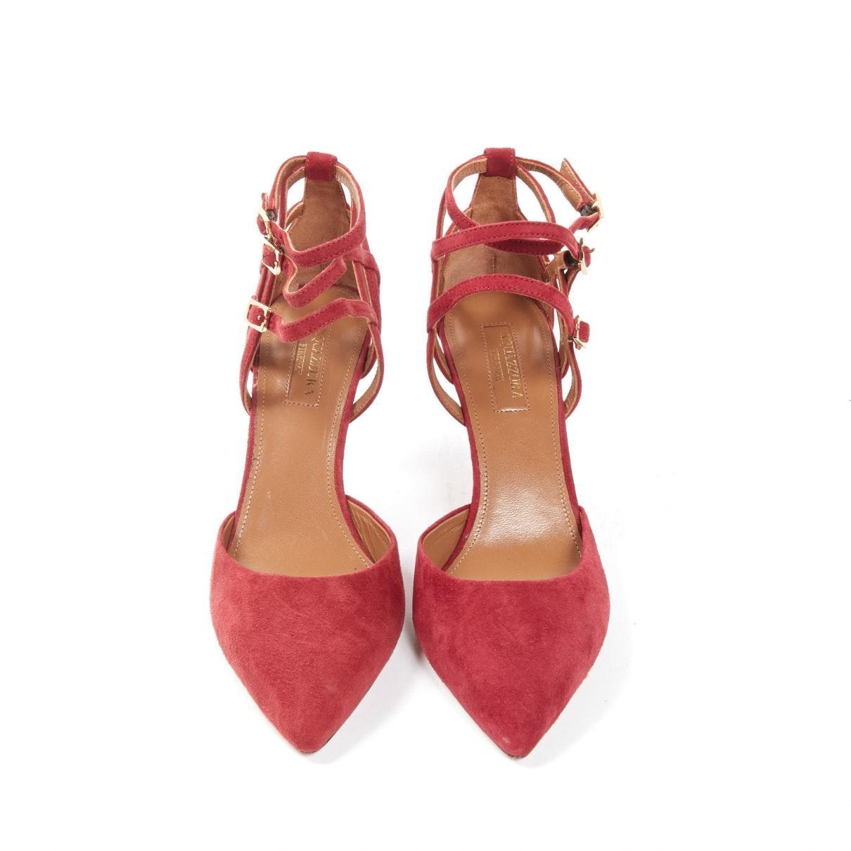 Sandales en Suede Bordeaux Aquazzura en coloris Rouge
