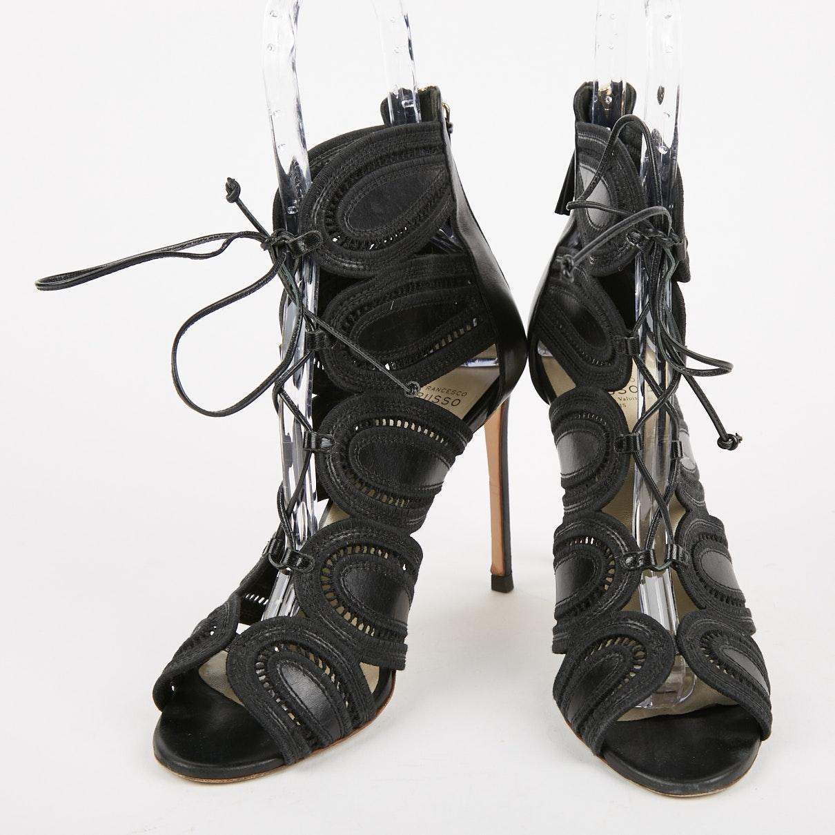 Tacones en cuero negro Francesco Russo de Cuero de color Negro
