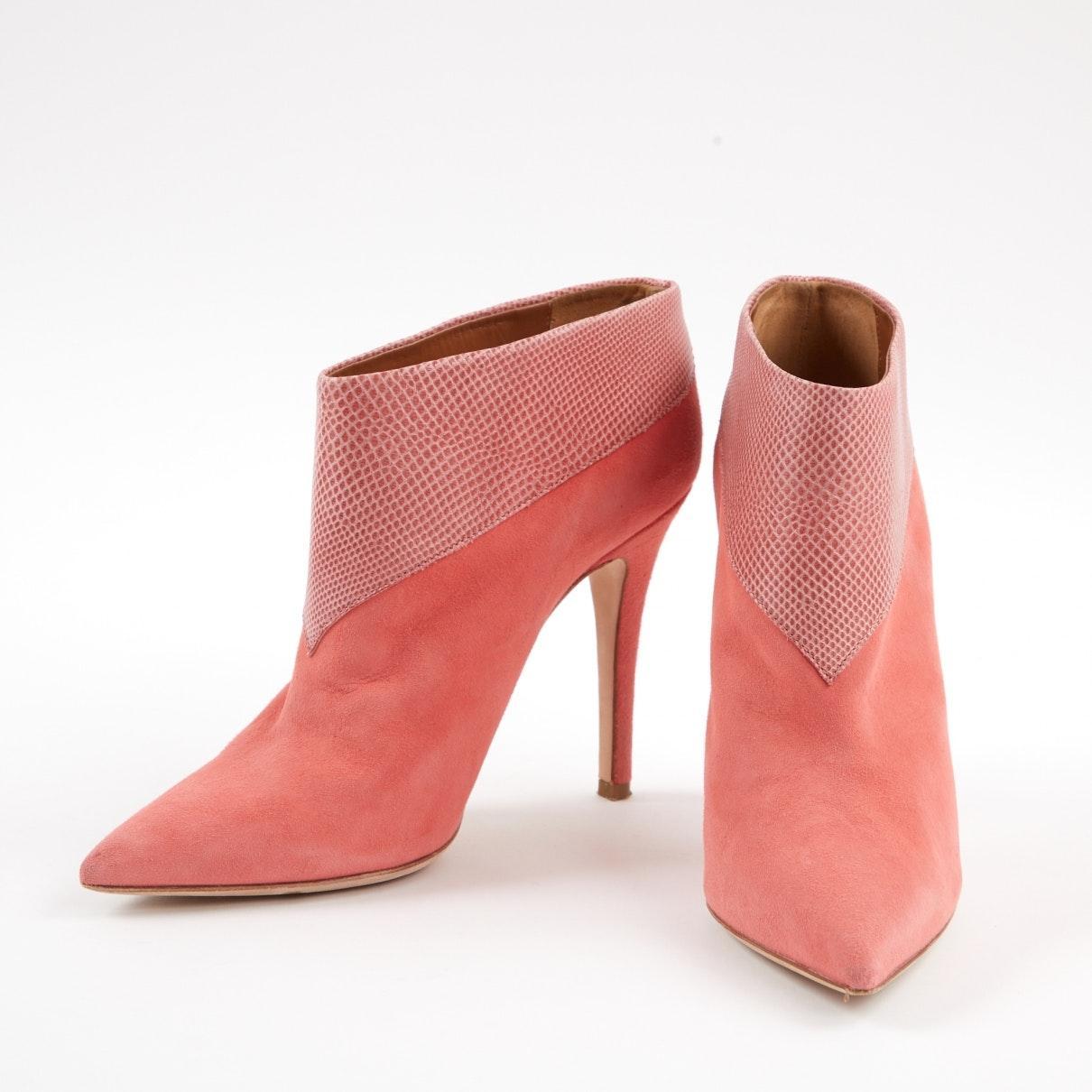 Botines en serpiente de agua rosa Malone Souliers de Ante de color Rosa