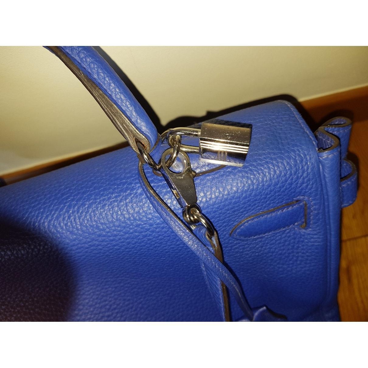 Sac à main Kelly 35 en Cuir Bleu Cuir Hermès en coloris Bleu uw0t