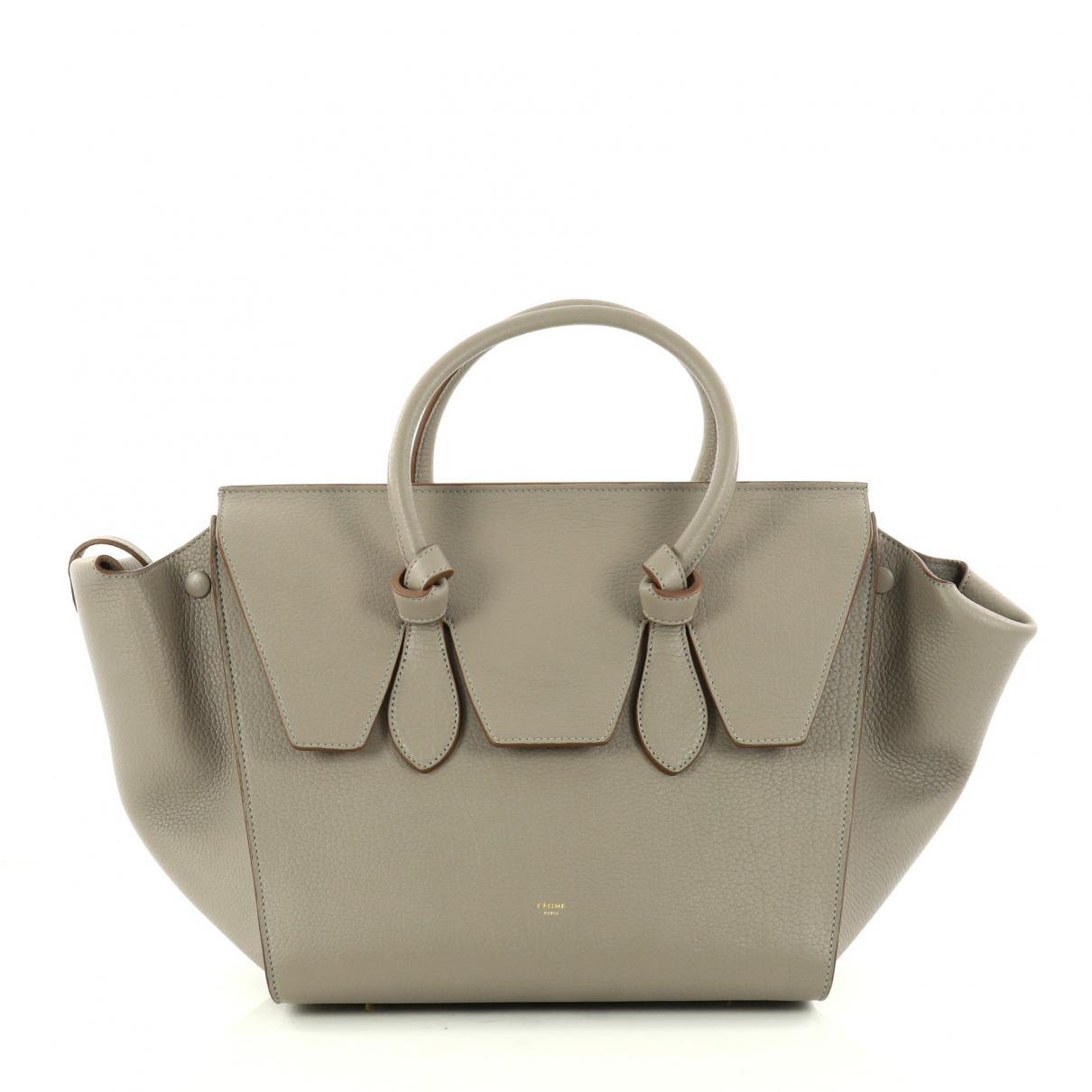 26ec9a367b Céline Tie Leather Handbag in Gray - Lyst