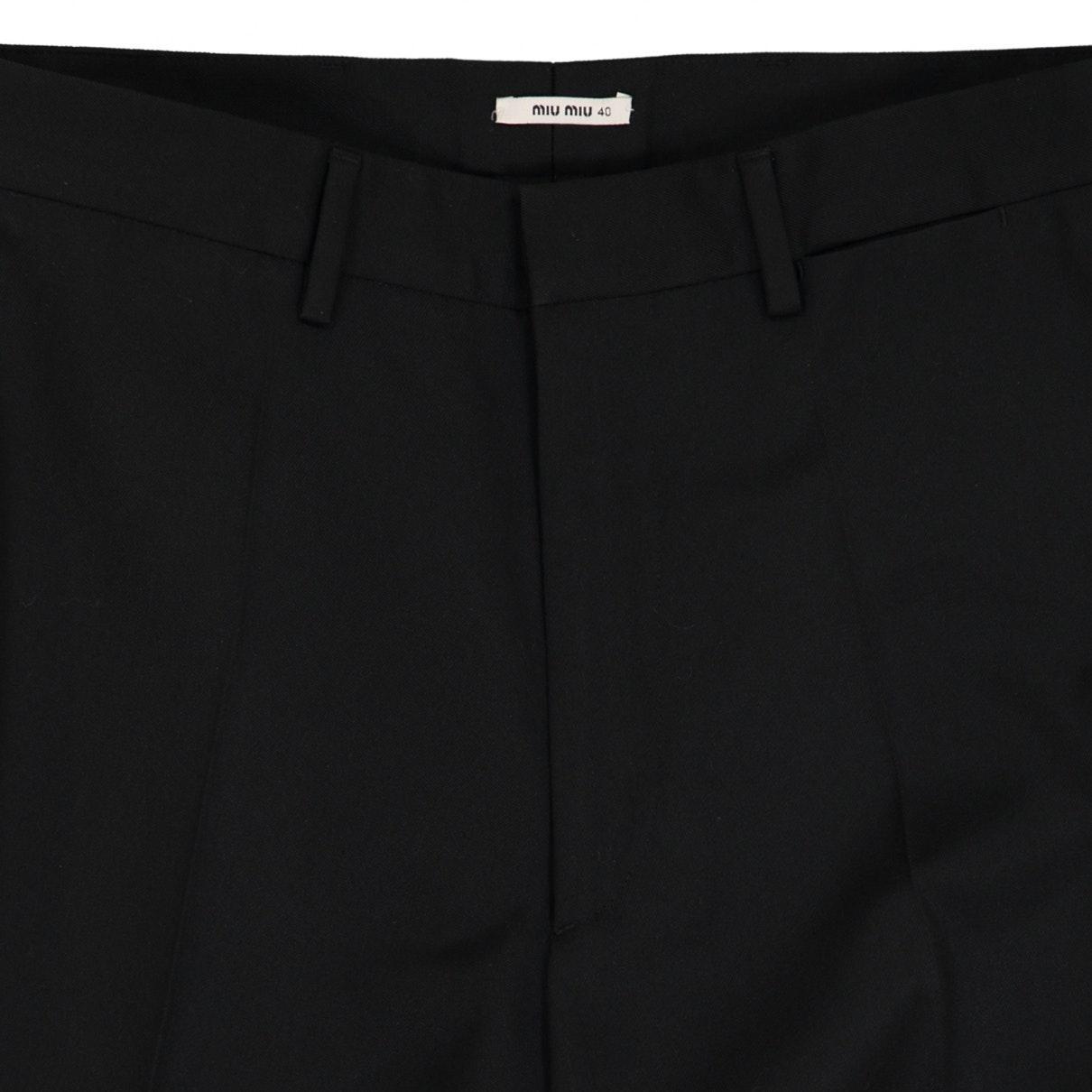Pantalones en algodón negro N Miu Miu de color Negro