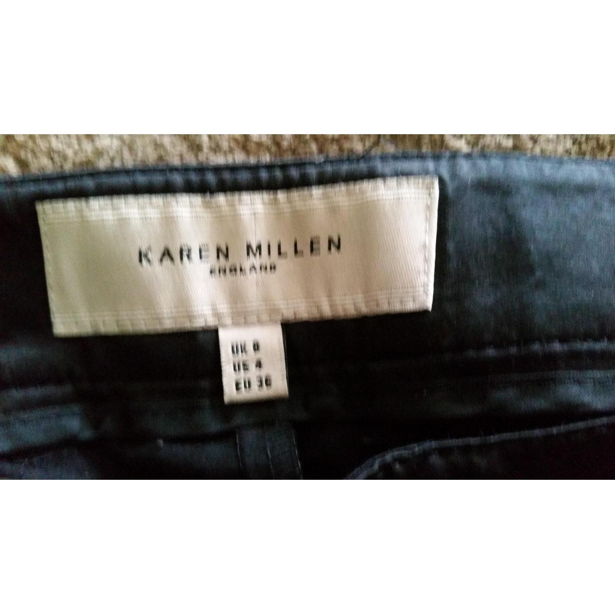 Pantalones en algodón negro N Karen Millen de Algodón de color Negro