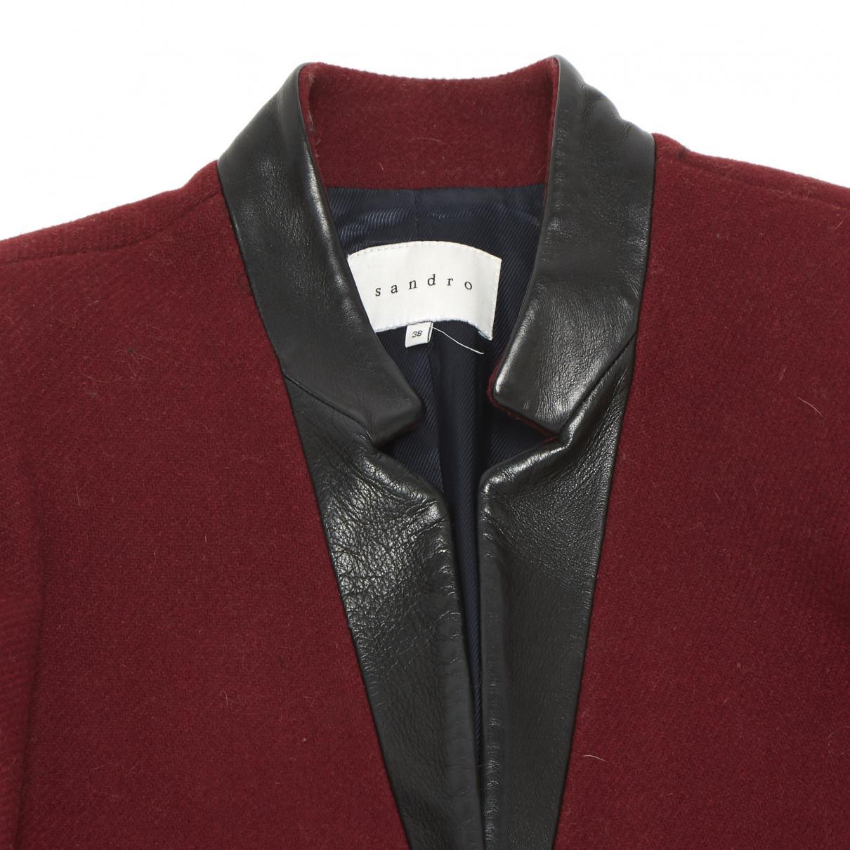 Manteau en laine Laines Sandro en coloris Rouge a8NN0