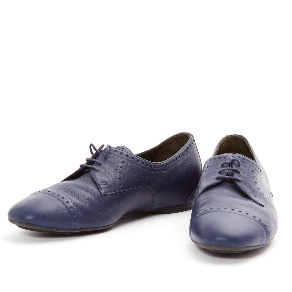 Derbis en cuero marino Hermès de color Azul