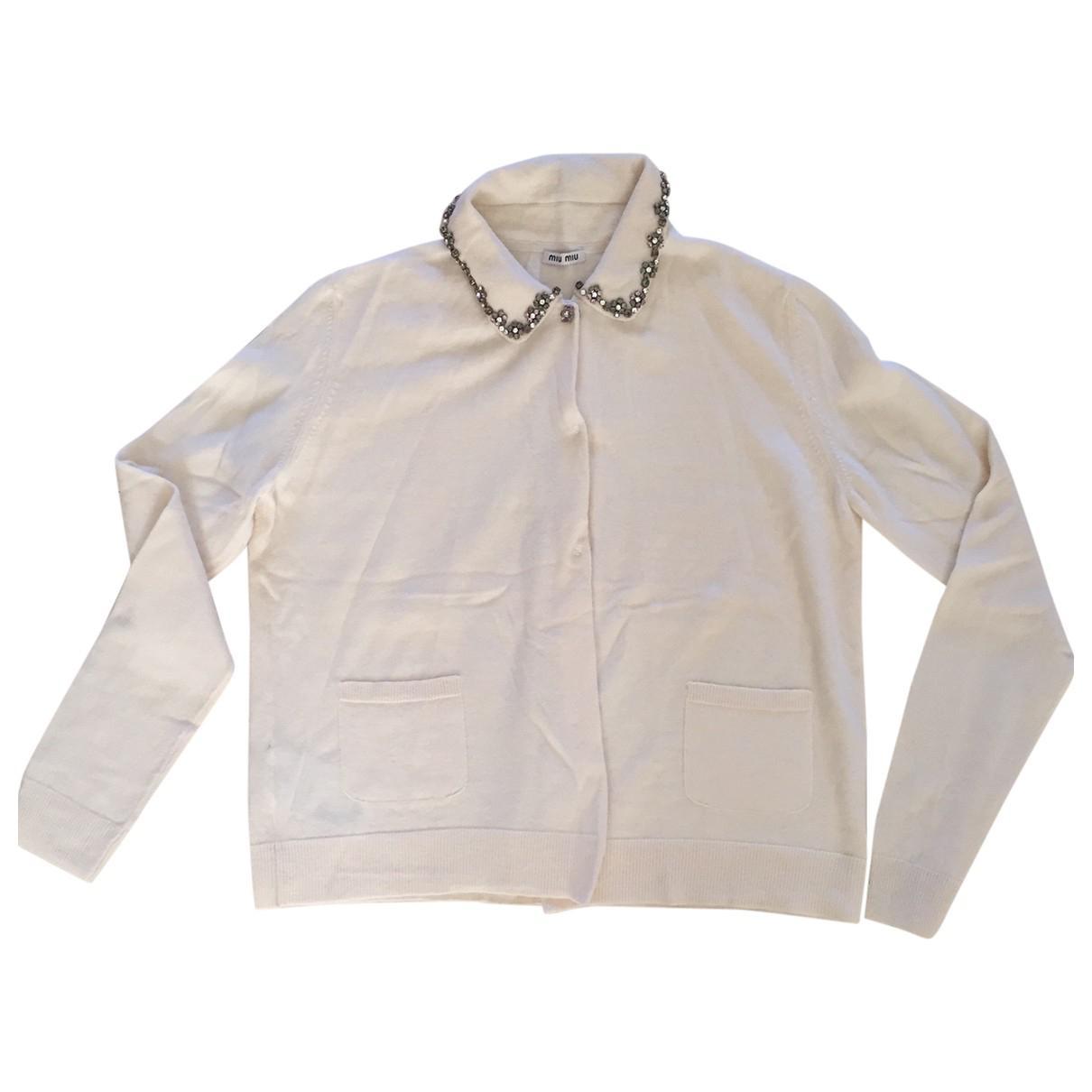 09bfac14291 Lyst - Miu Miu Pre-owned Wool Top in White