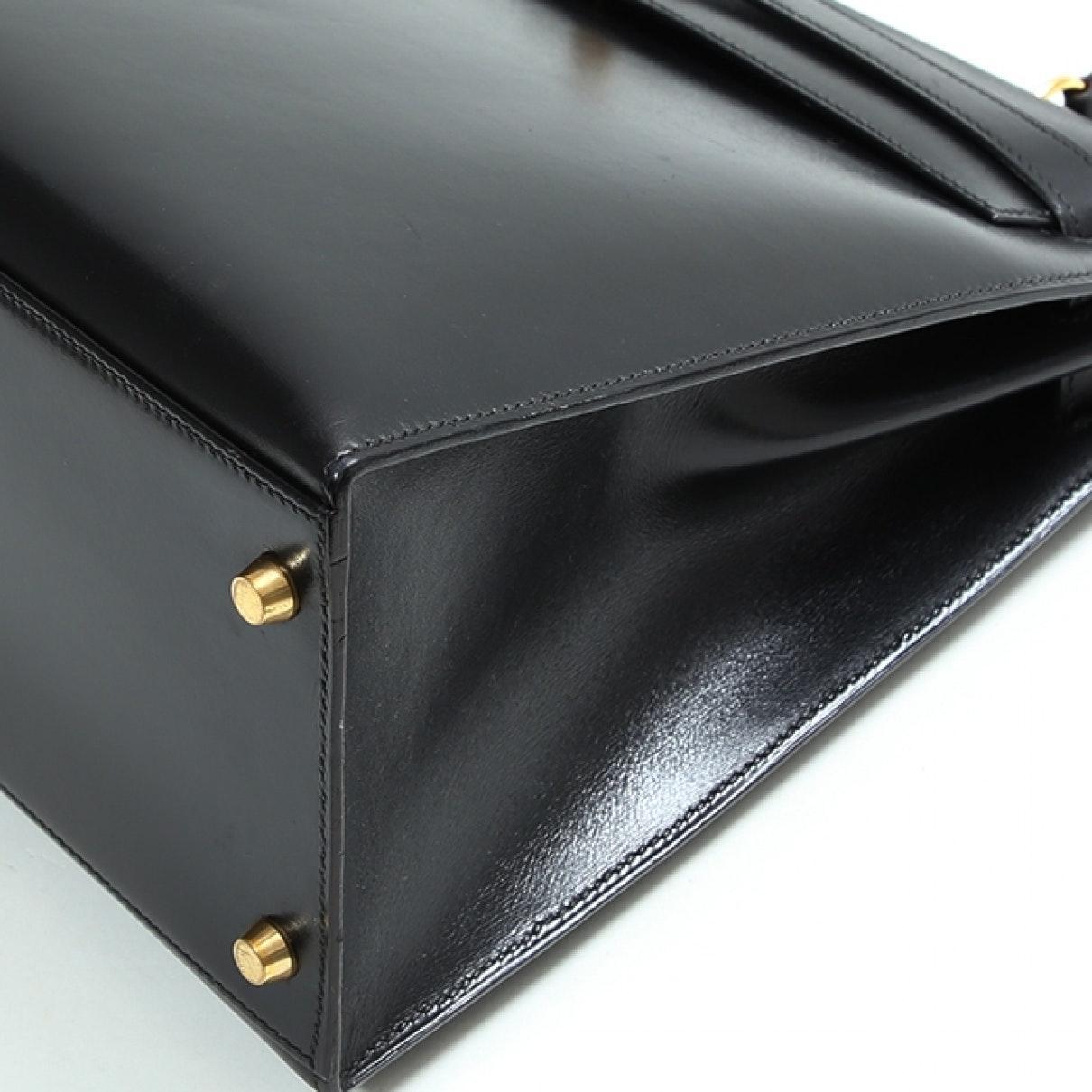 Sac à main Kelly 35 en Cuir Noir Cuir Hermès en coloris Noir xcdv