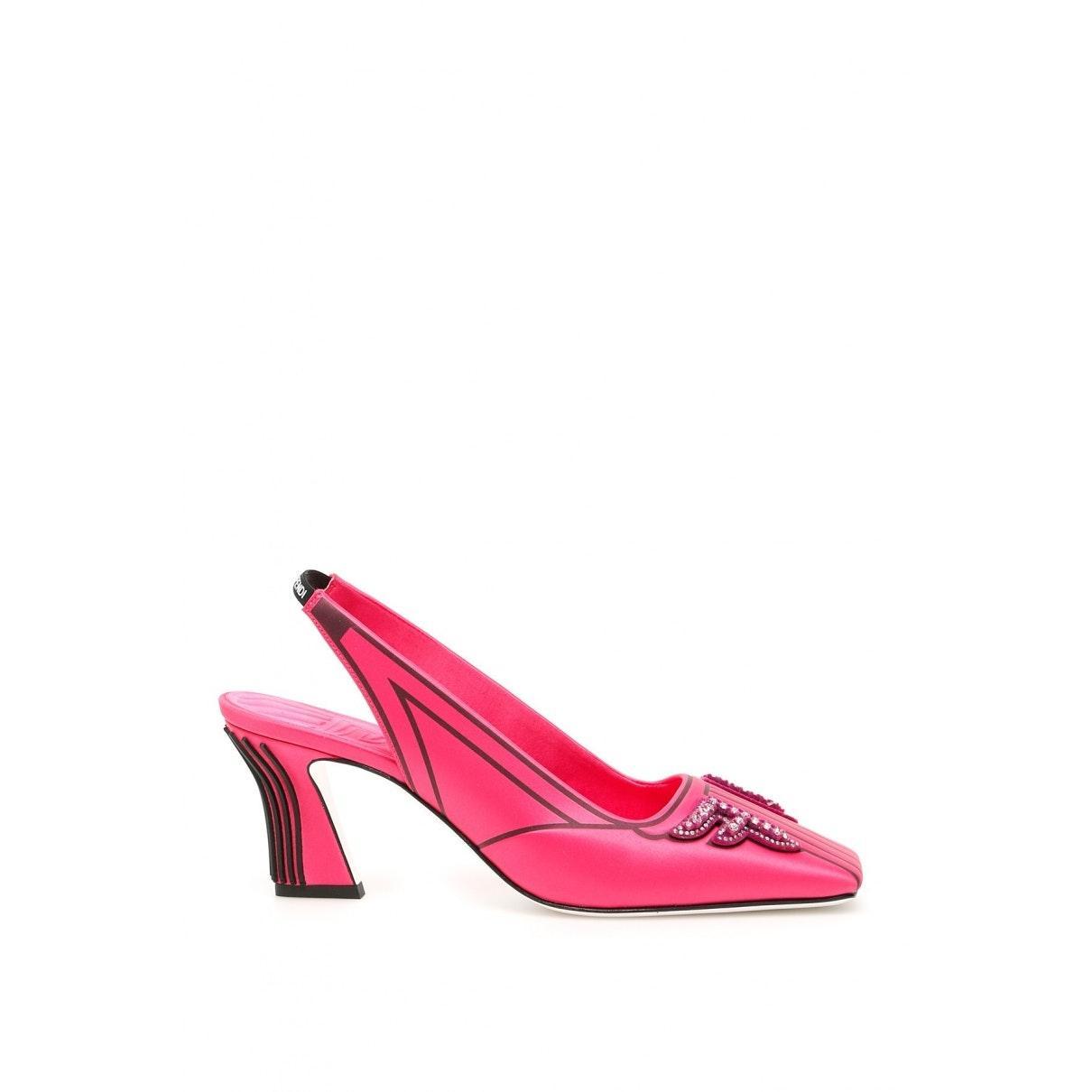 Tacones en lona rosa FFreedom Fendi de color Rosa