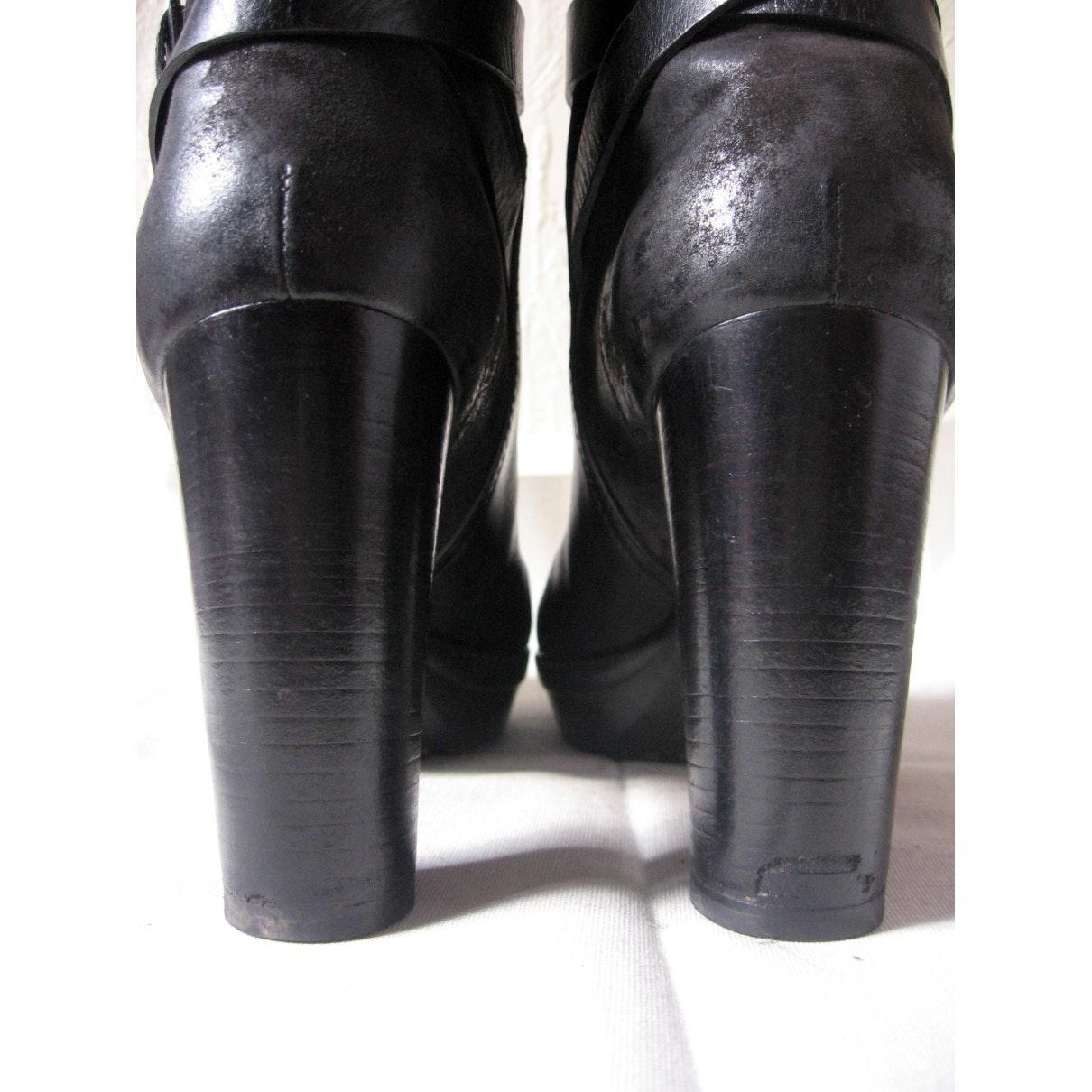 Botines en cuero negro Tod's de Cuero de color Negro
