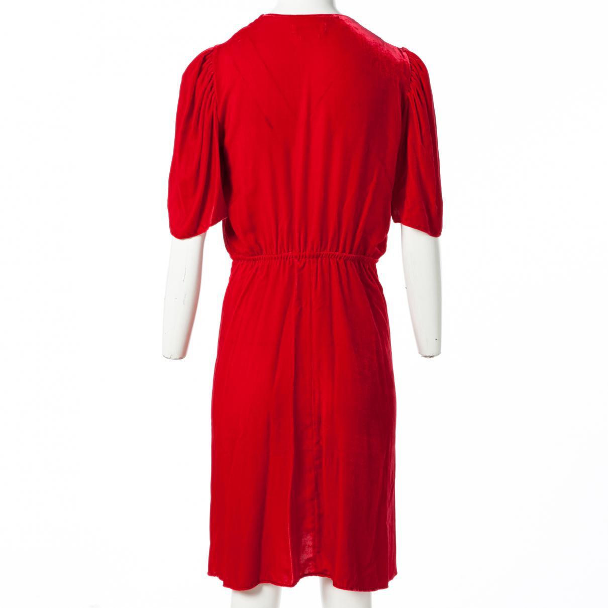 Robe mi-longue en velours Velours Étoile Isabel Marant en coloris Rouge