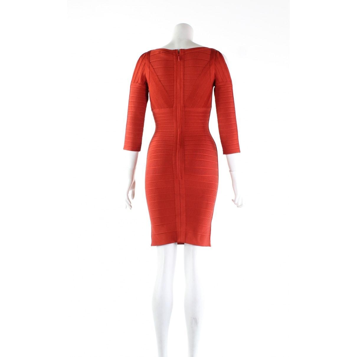 Robe N en Synthétique Orange Hervé Léger en coloris Rouge
