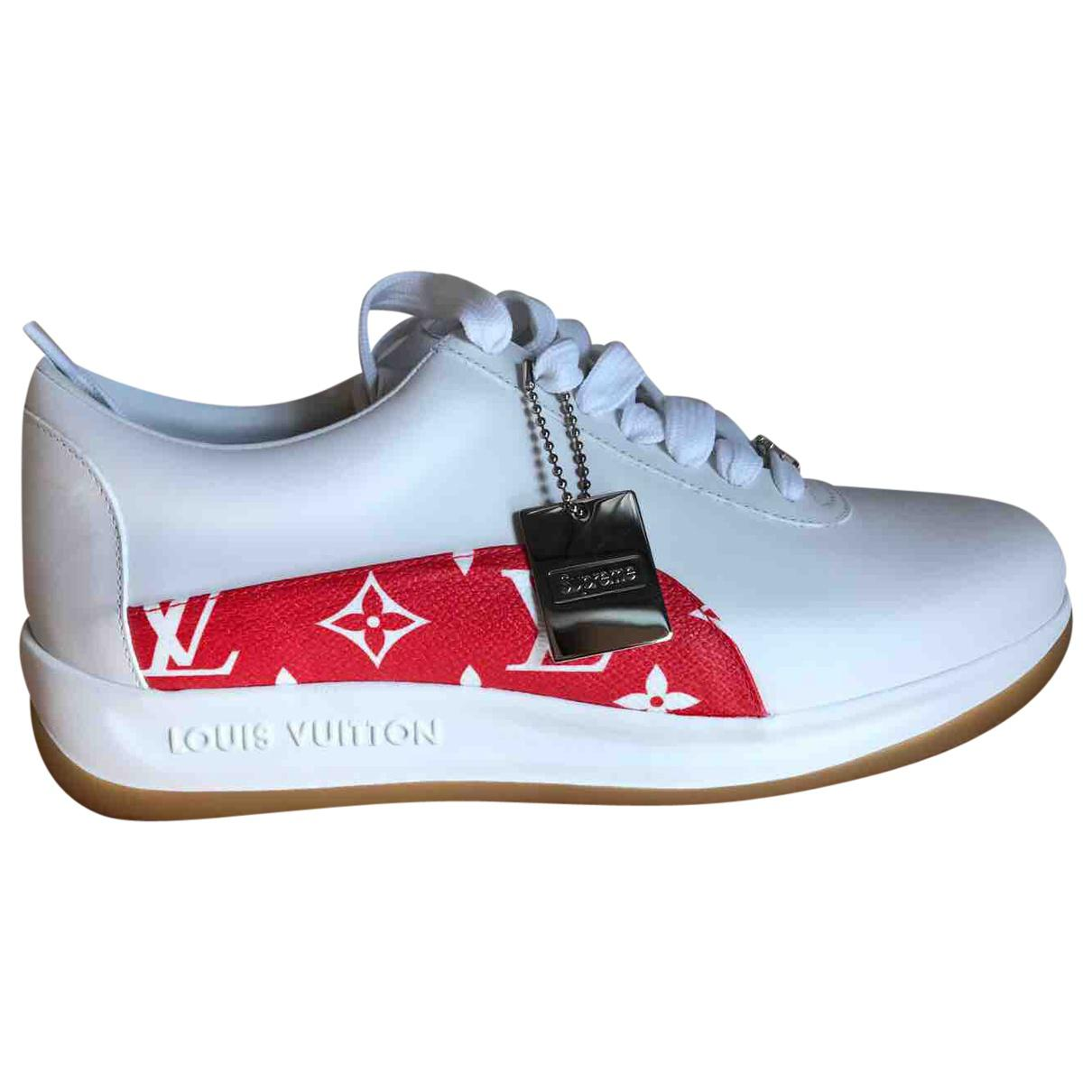 70349894aca Lyst - Louis Vuitton Leather Low Trainers in Blue for Men