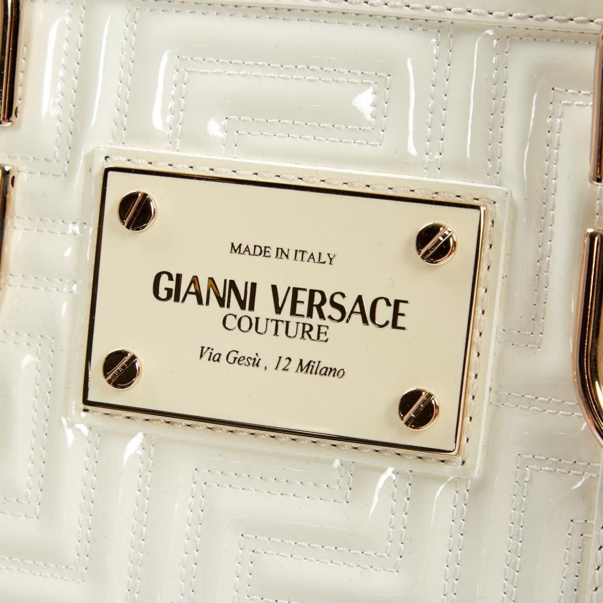 Sac à main N en Cuir verni Blanc Versace 0prQ