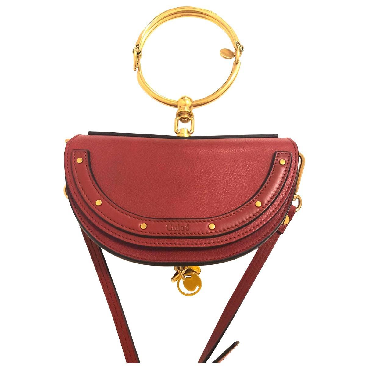 Chloé Leather Nile Minaudière Crossbody Bag in Red