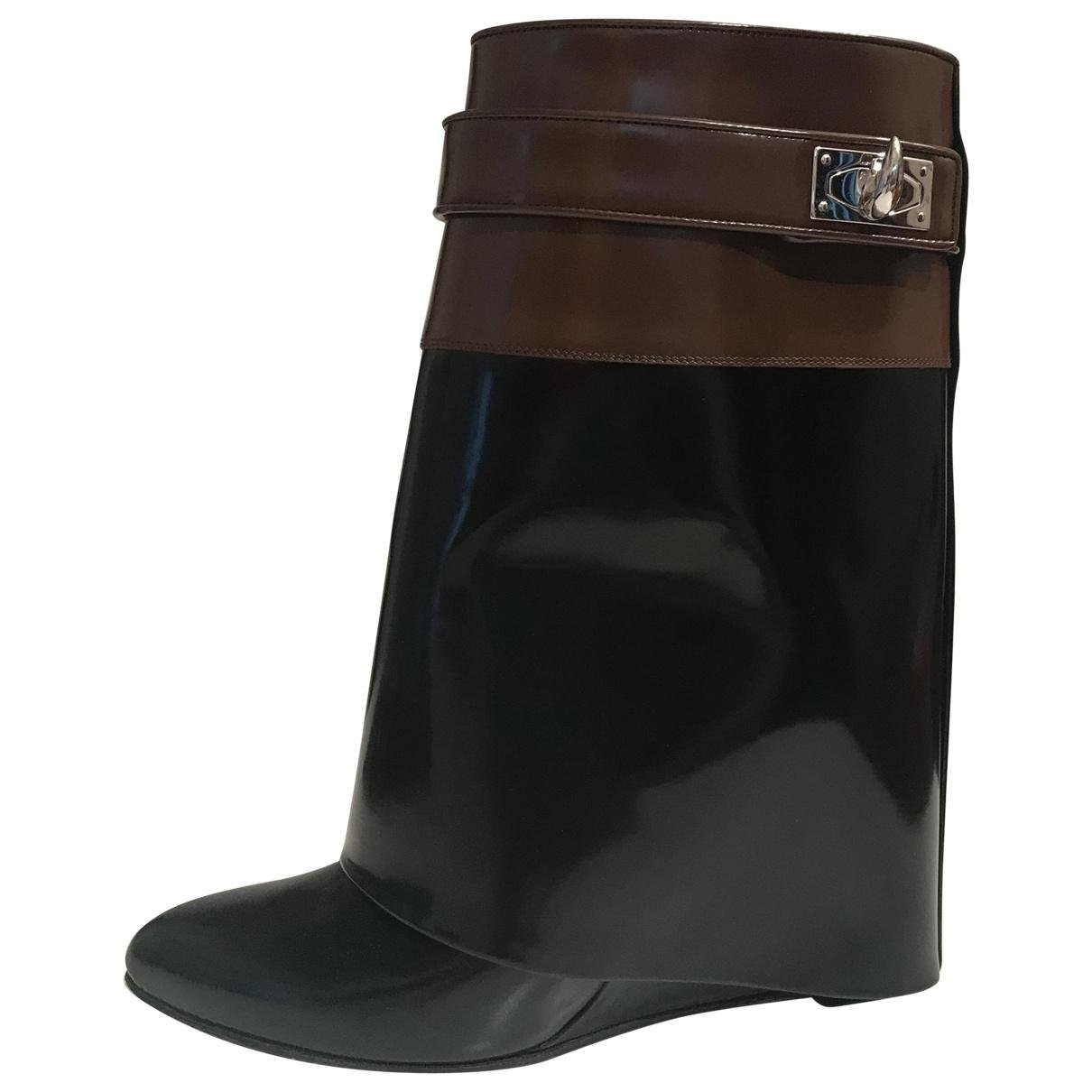 givenchy pre owned shark leather ankle boots in black lyst