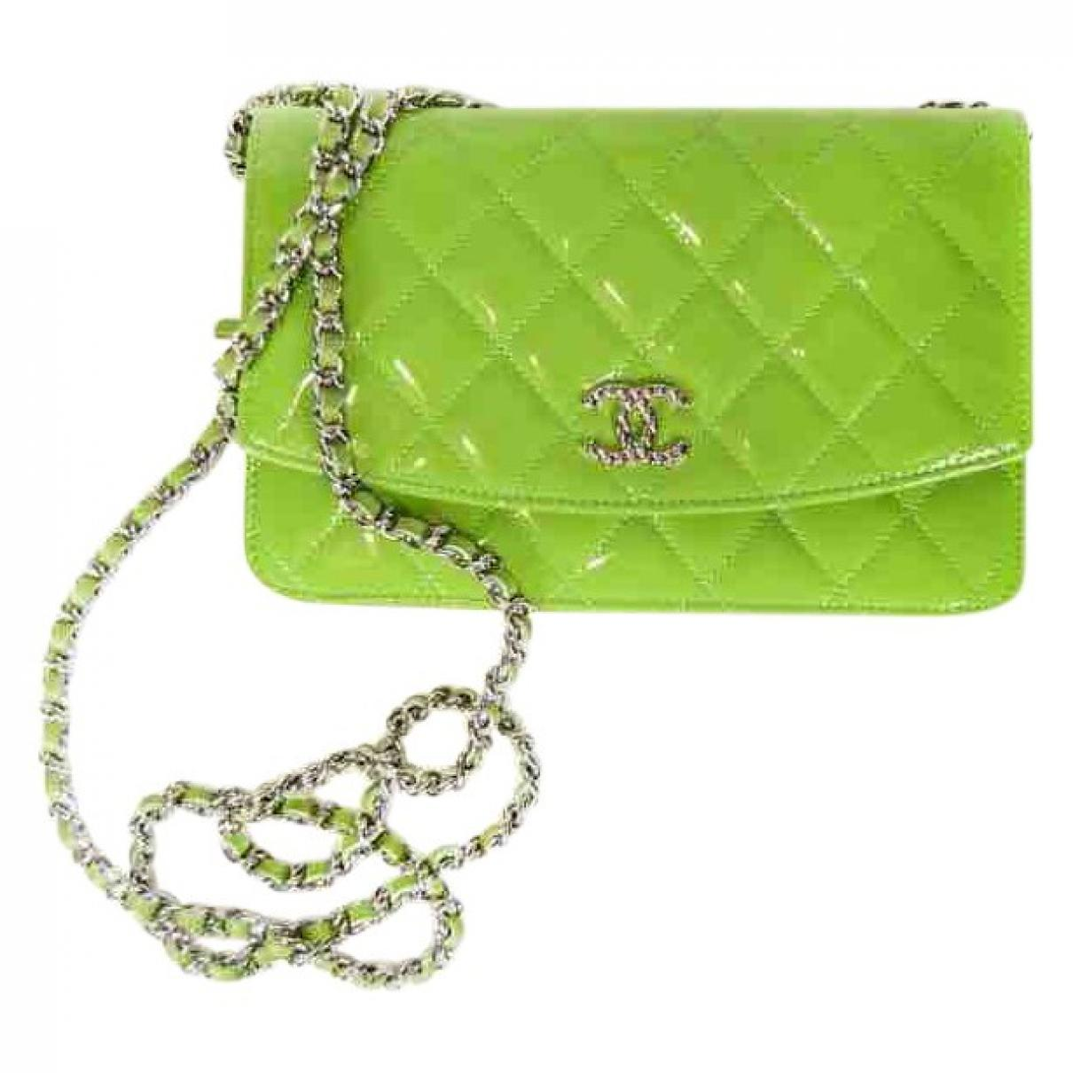 463061e7c662 Lyst - Chanel Wallet On Chain Patent Leather Bag in Green
