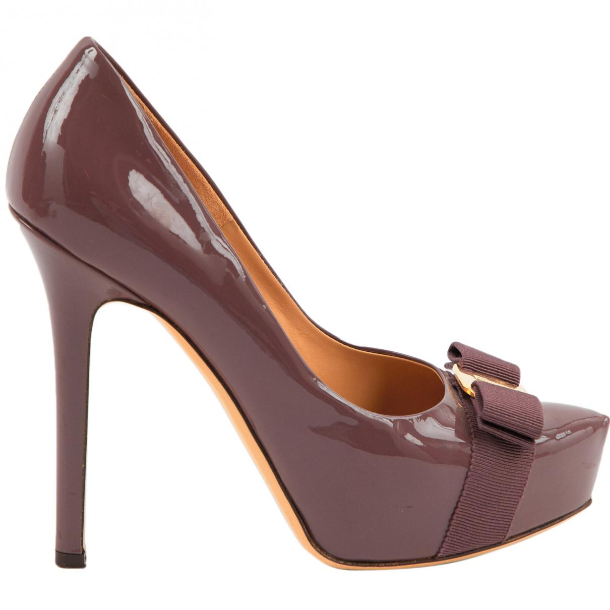 a362104cf814 Lyst - Ferragamo Patent Leather Heels in Purple