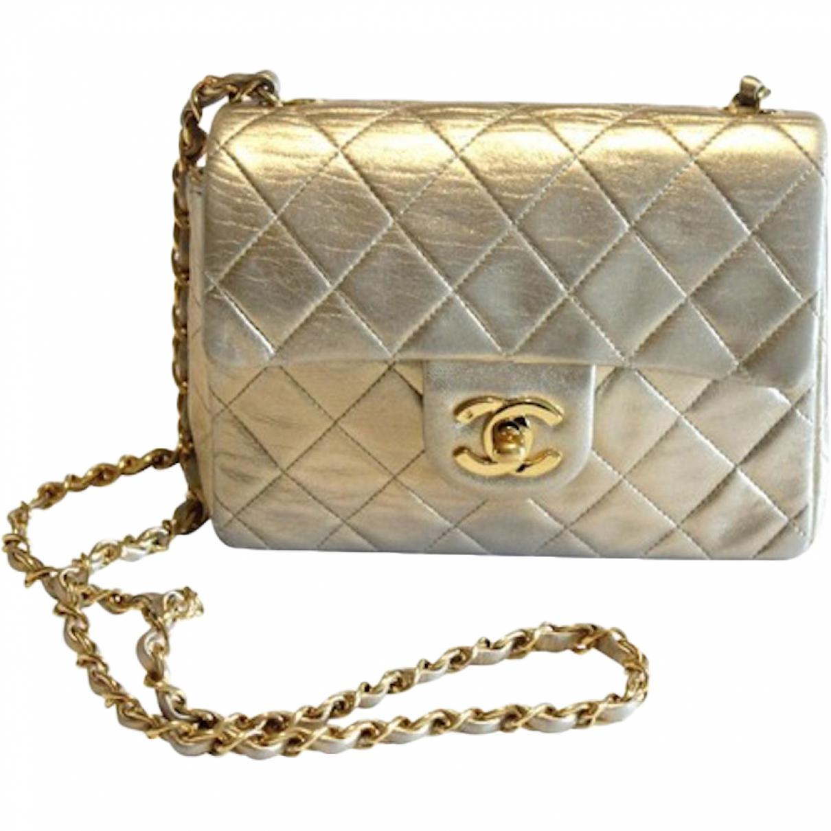 71fcb5b04 Lyst - Chanel Pre-owned Vintage Timeless/classique Gold Leather ...