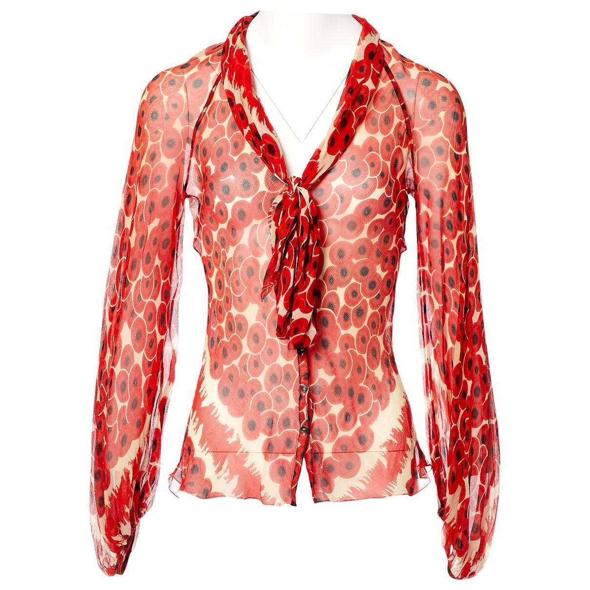835a76287eb Hermès Red Silk Top in Red - Lyst