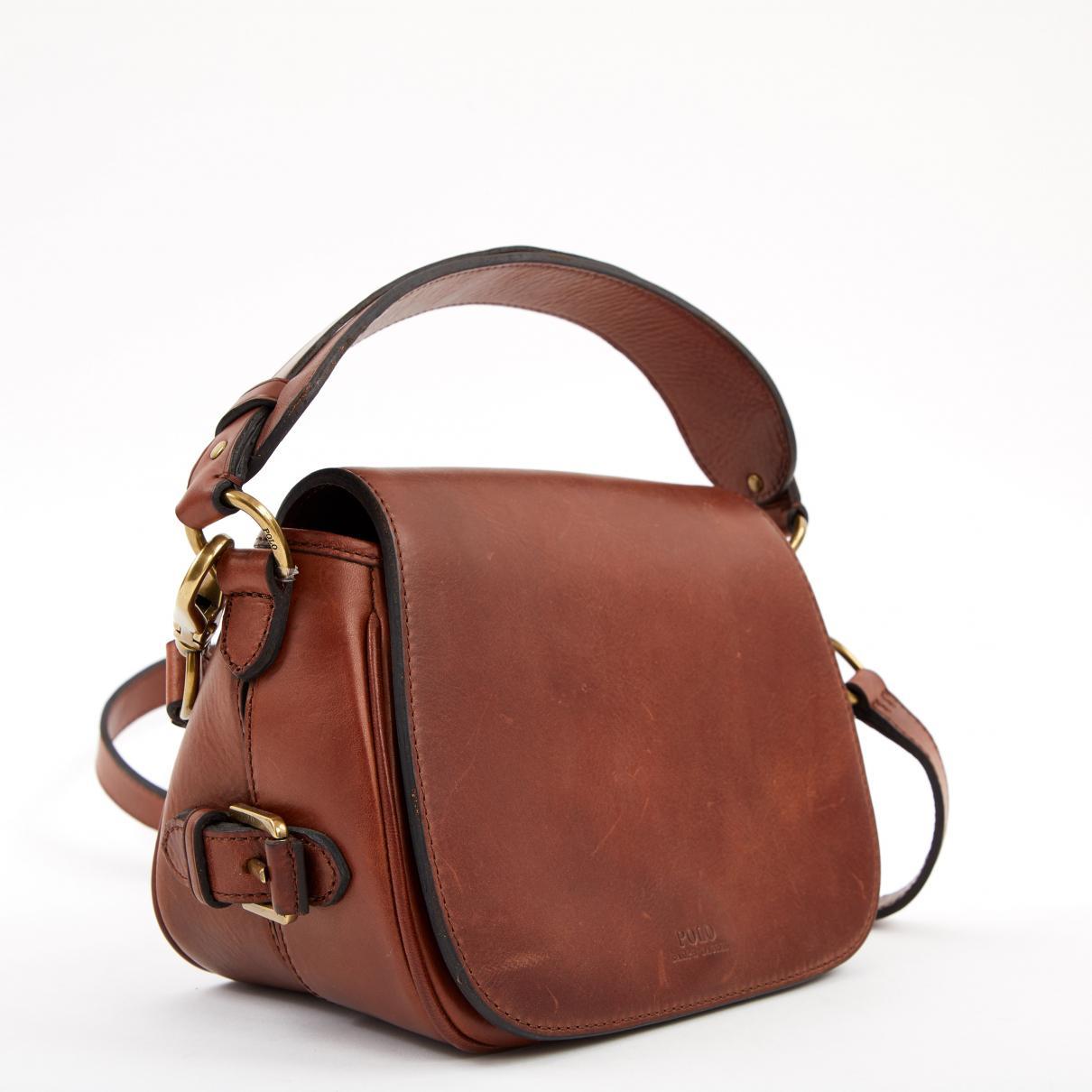 43b74e16ee Polo Ralph Lauren - Brown Leather Handbag - Lyst. View fullscreen