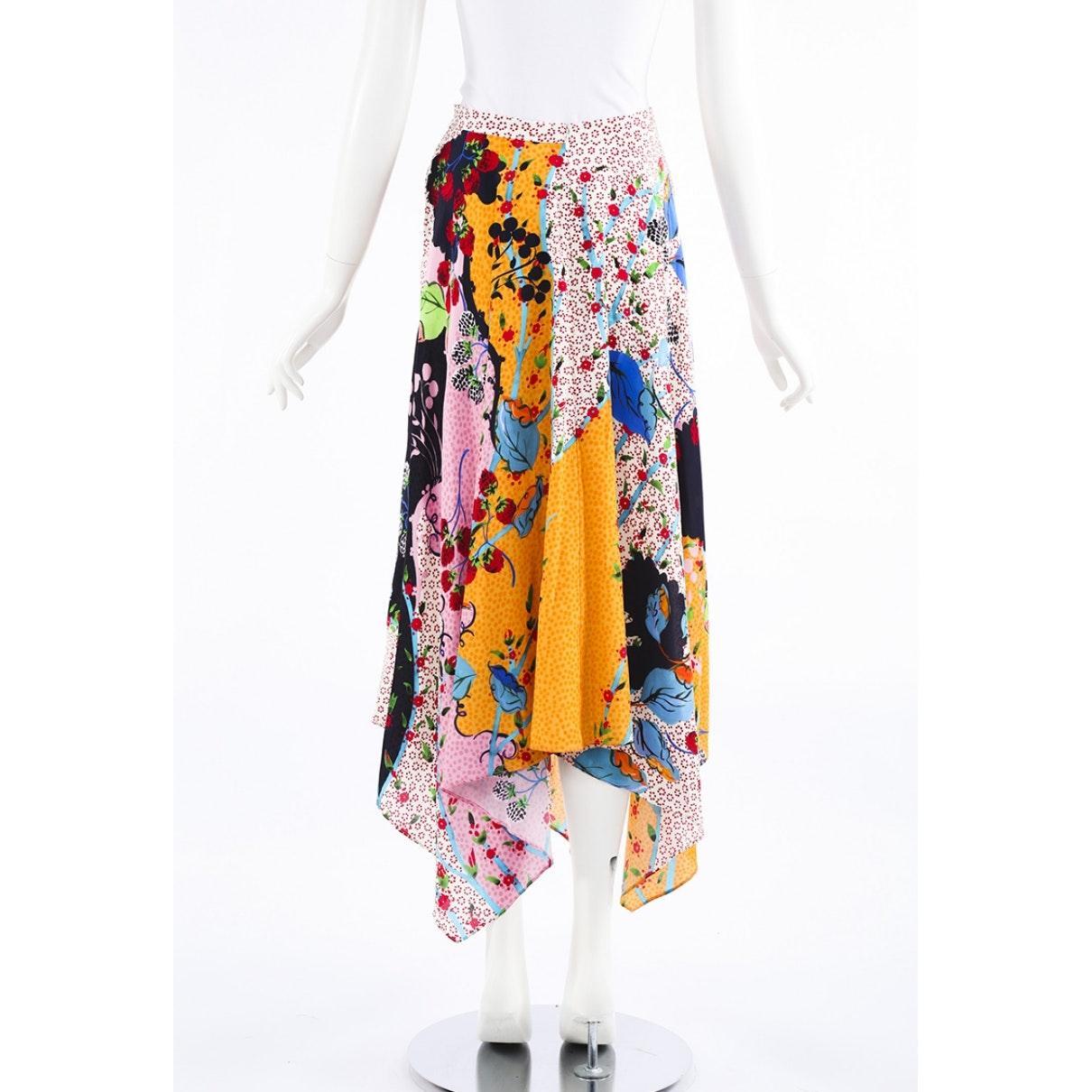 Falda en seda multicolor Saloni de Seda