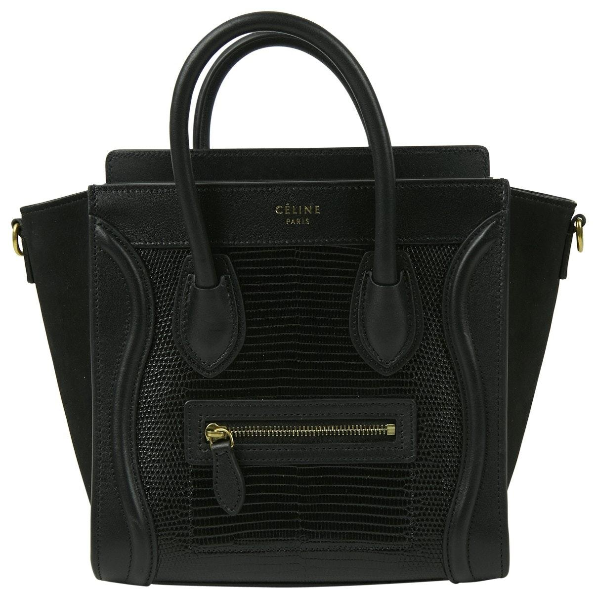 Nano Luggage Black Lizard Handbag