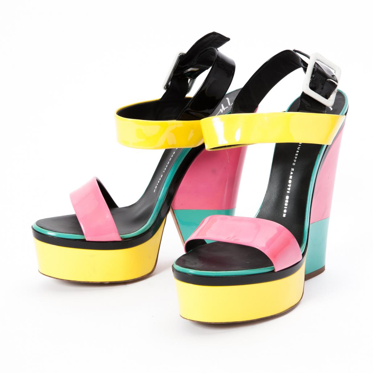 f4fd3653cc746 Giuseppe Zanotti Pre-owned Patent Leather Sandal in Yellow - Lyst