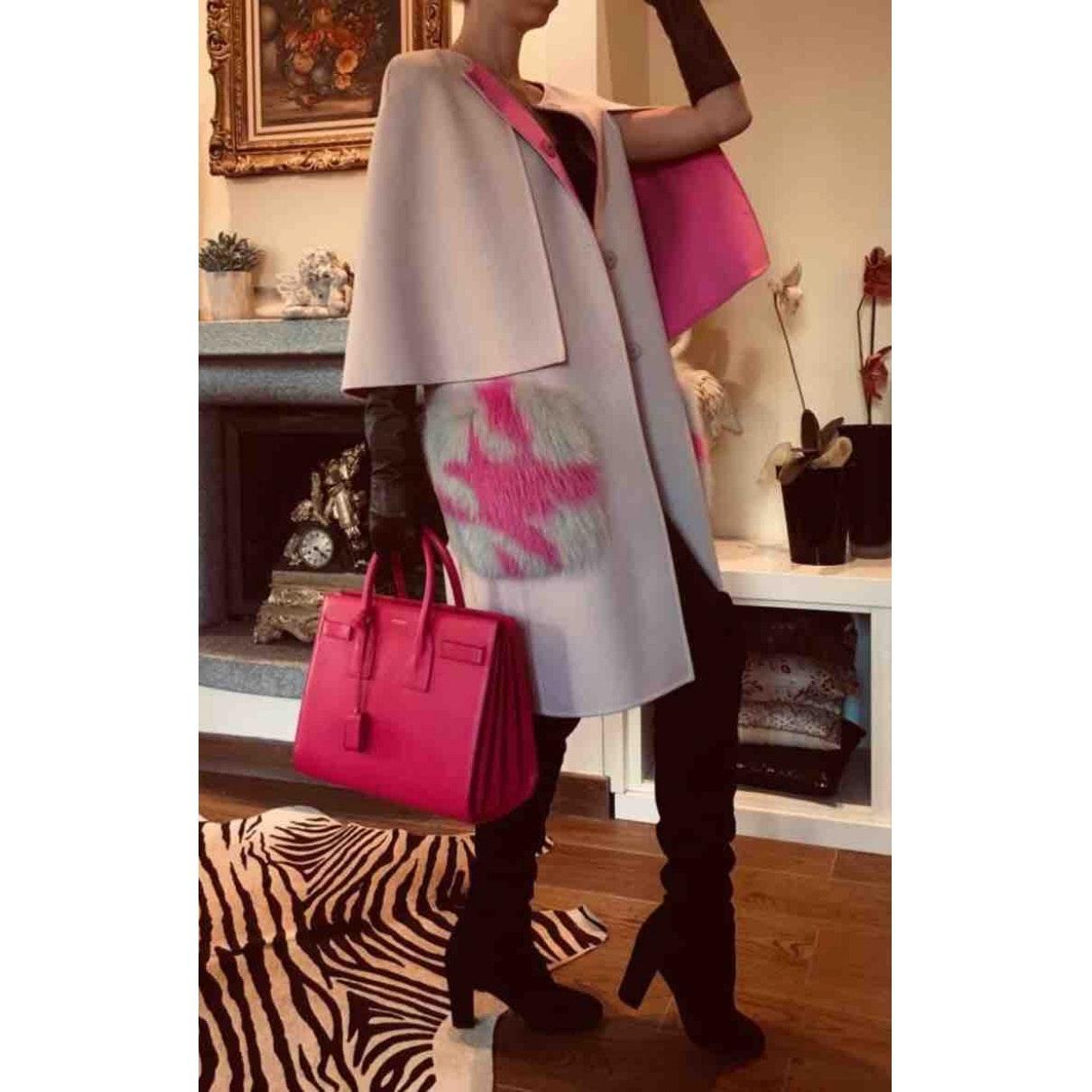Mantel en Laine Rose Laines Fendi en coloris Rose Dxceg