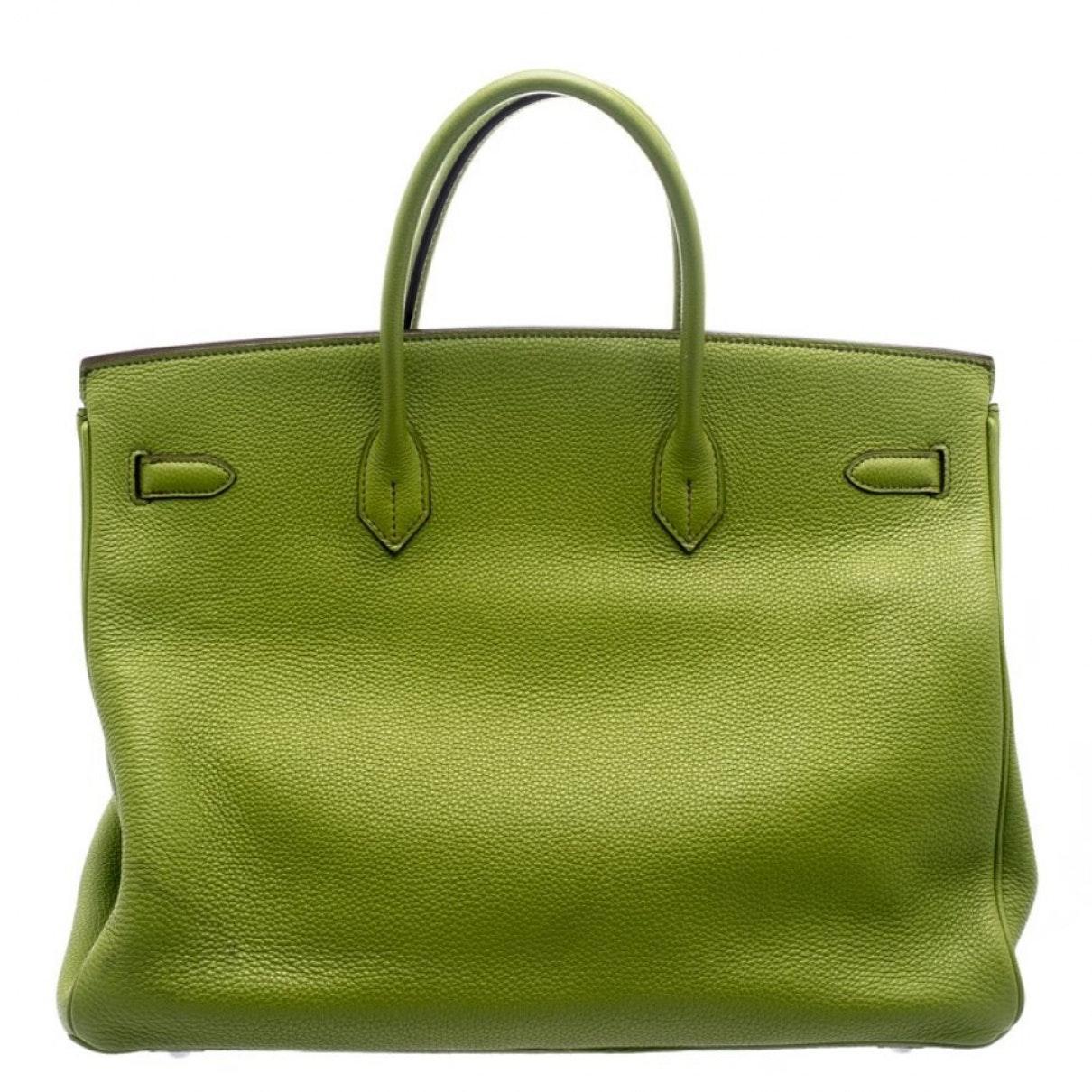 Sacs à main Birkin 40 Cuir Hermès en coloris Vert
