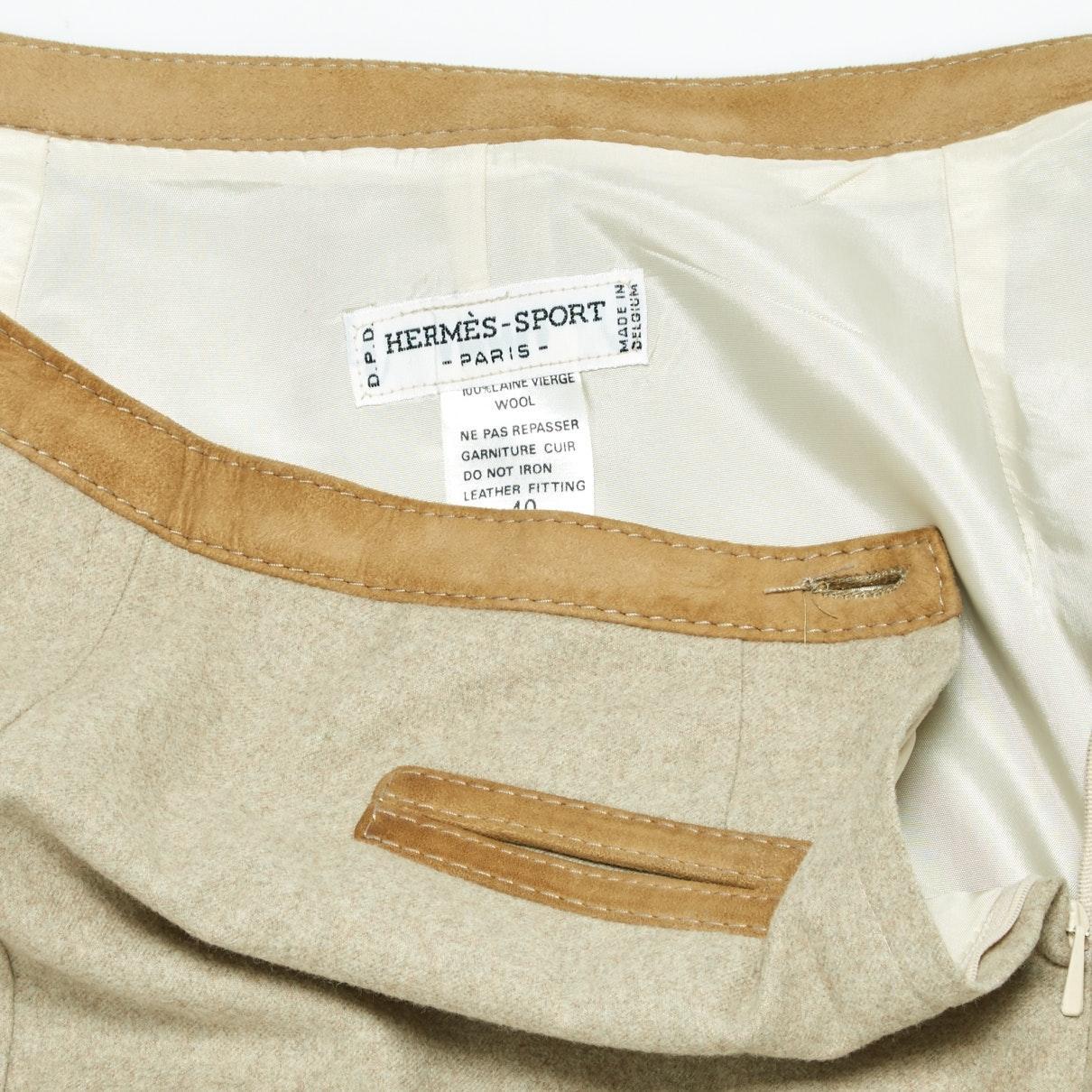 Falda en lana beige Hermès de Lana de color Neutro