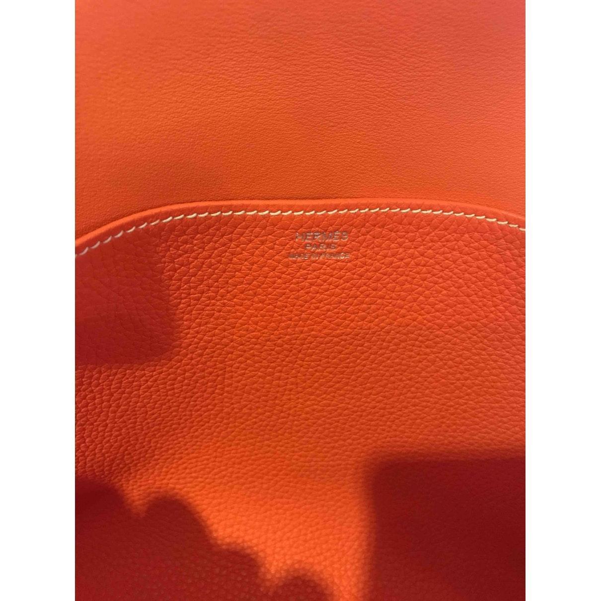 Hermès Leder Halzan Leder Handtaschen in Orange lKIVx