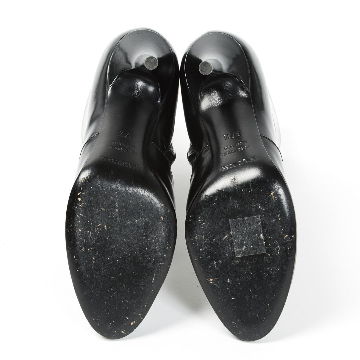 Botines en cuero negro Sergio Rossi de Cuero de color Negro