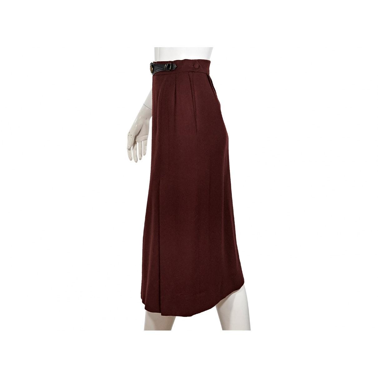 Falda en lana burdeos Hermès