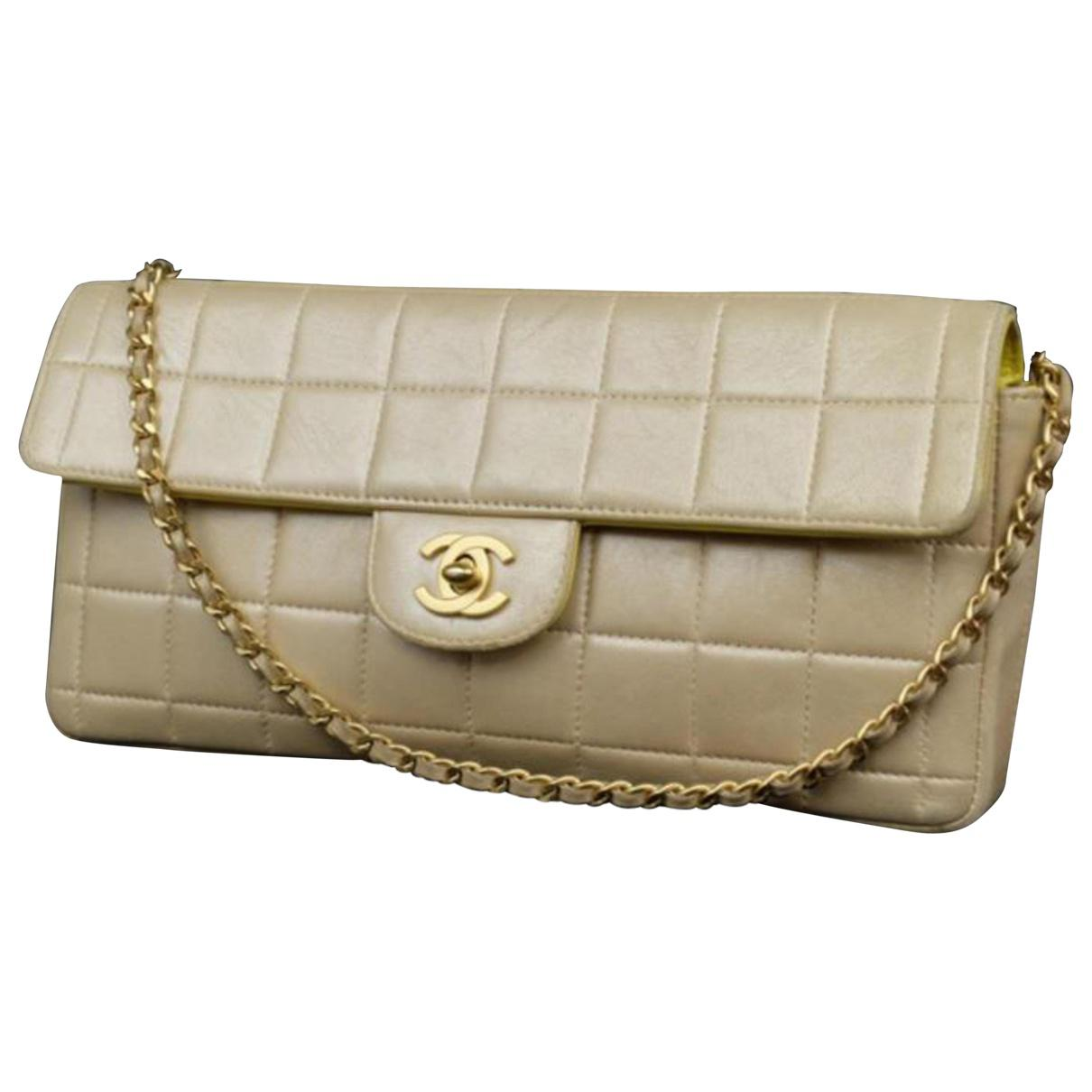 c70ead109275 Chanel. Women's Natural Pre-owned East West Chocolate Bar Leather Handbag