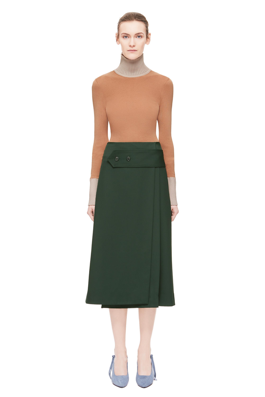 0b4491426c Victoria Beckham Wide Martingale Skirt in Green - Lyst