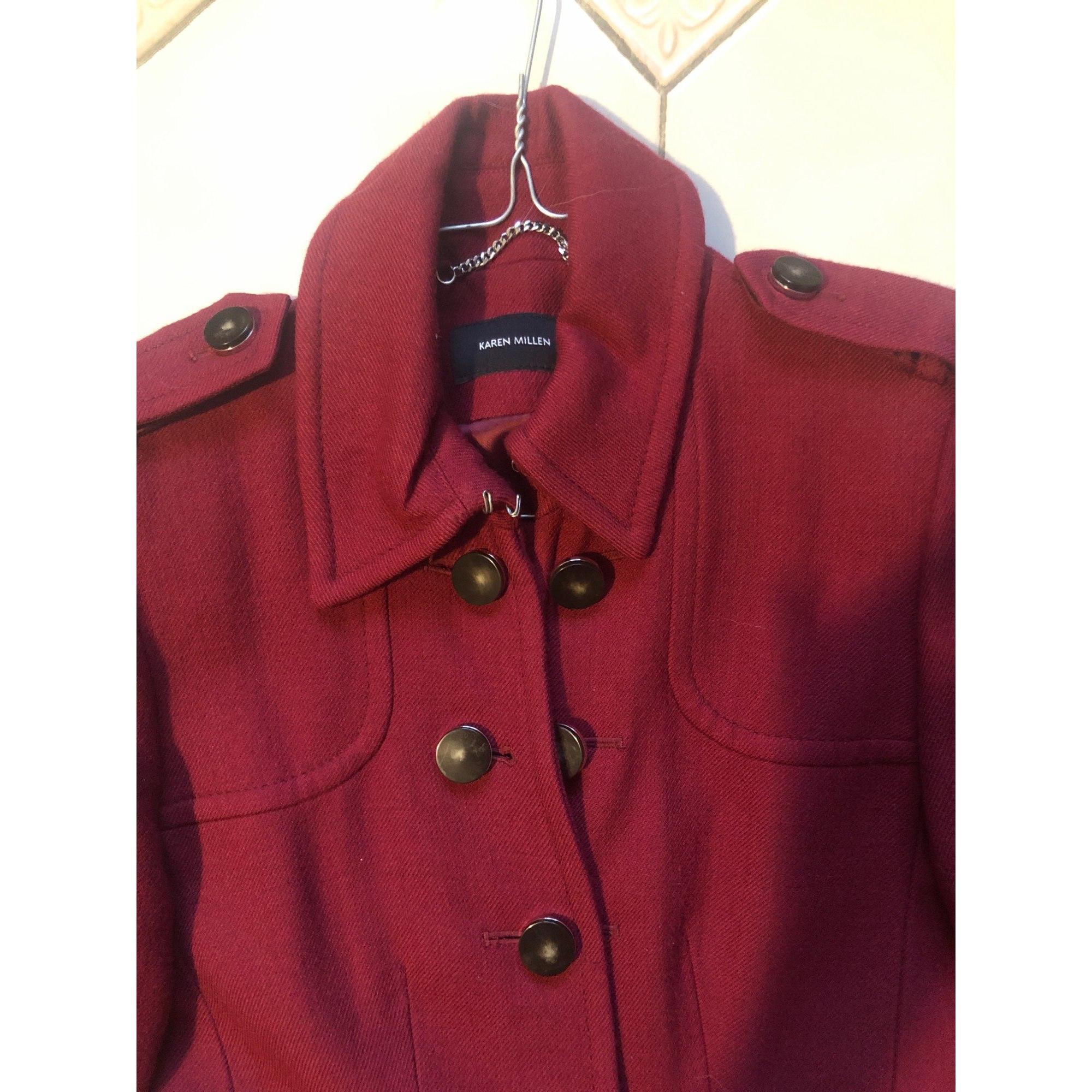Manteau laine rouge Karen Millen en coloris Rouge aAxqZ