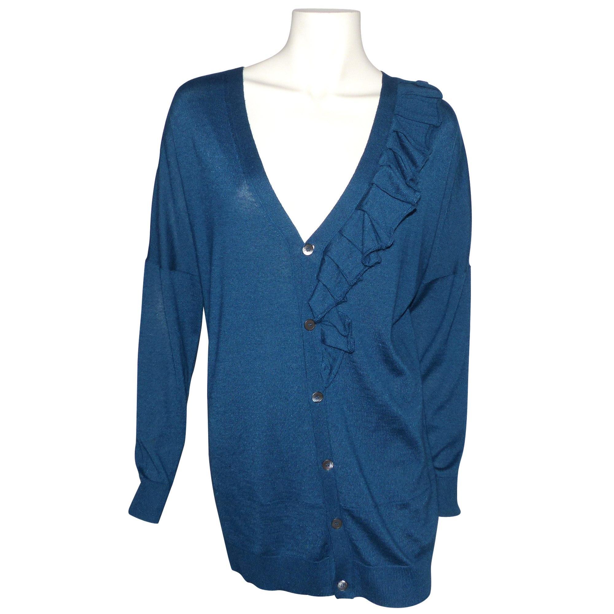 Gilet, cardigan cachemire bleu Miu Miu en coloris Bleu