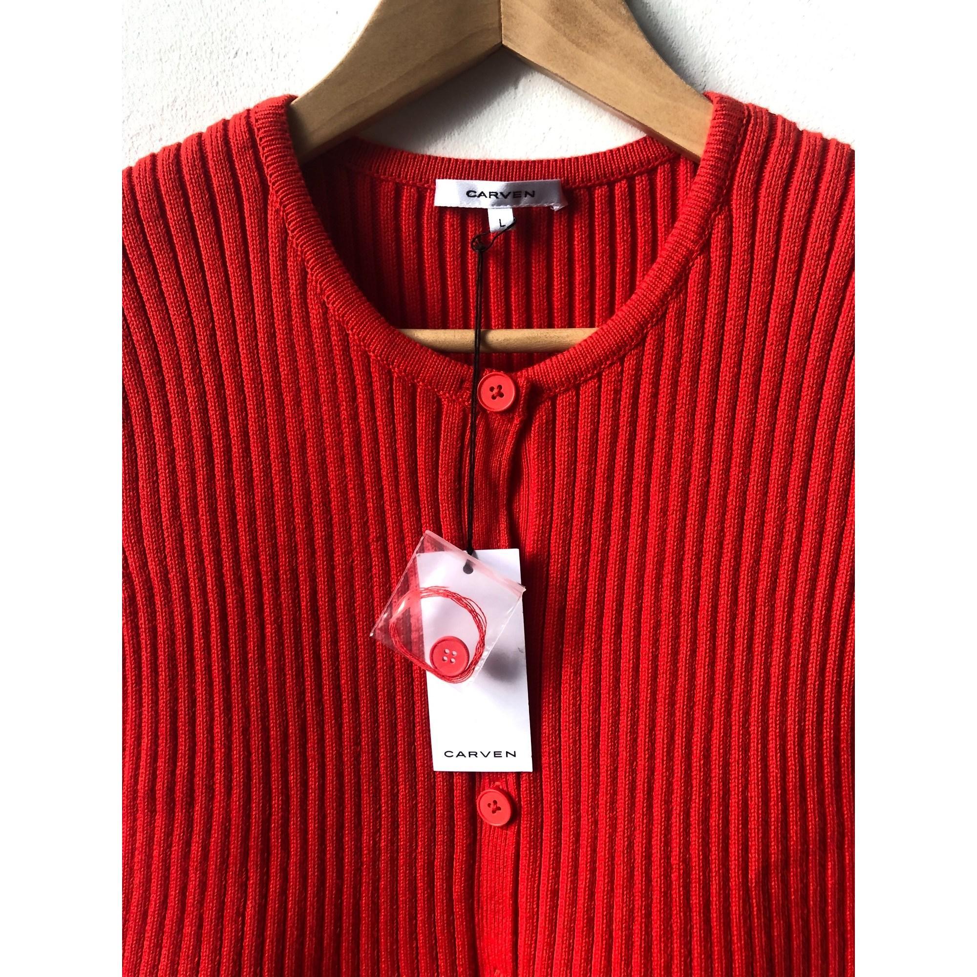 Robe courte coton rouge Carven en coloris Rouge