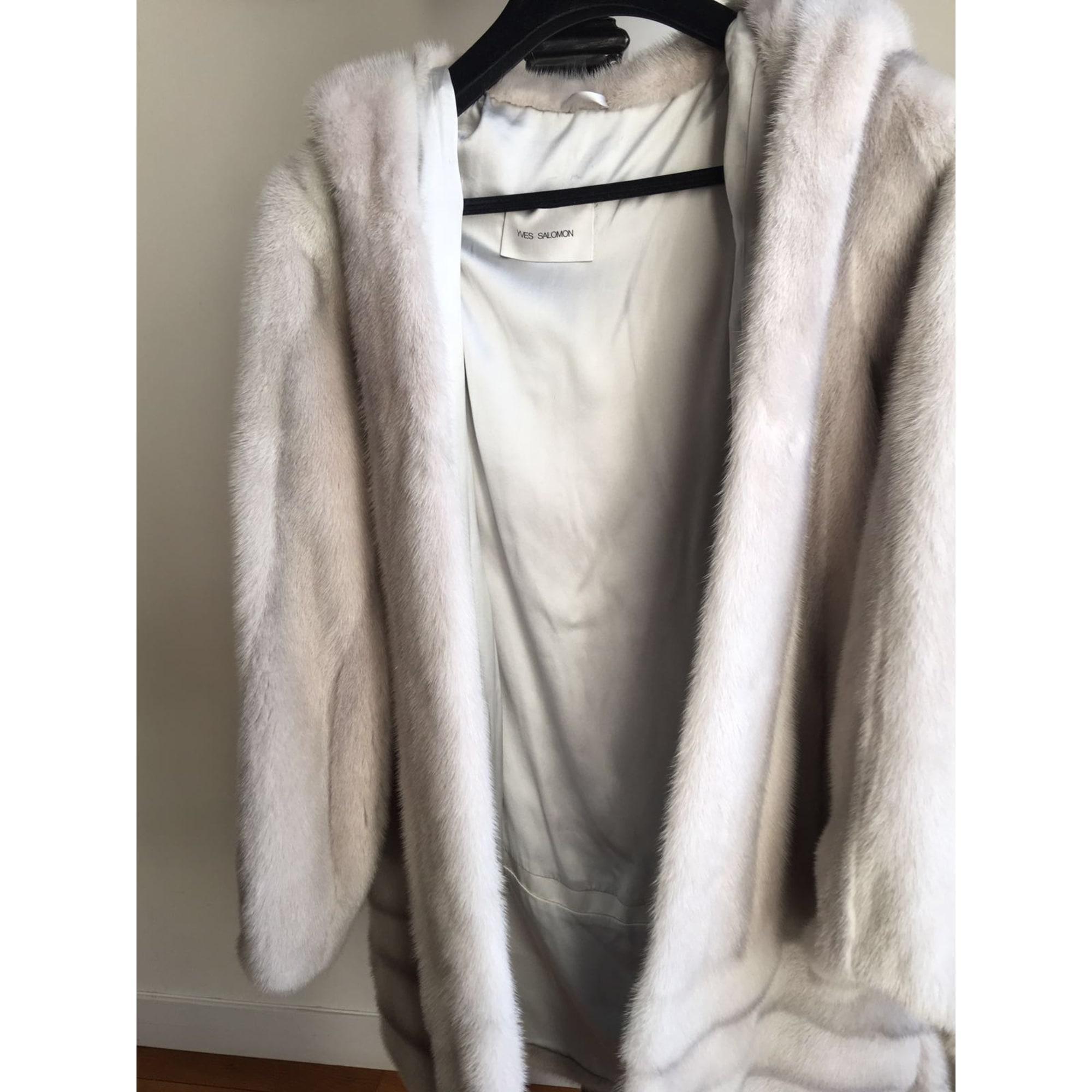 Manteau en fourrure fourrure gris Yves Salomon en coloris Gris hUfR5