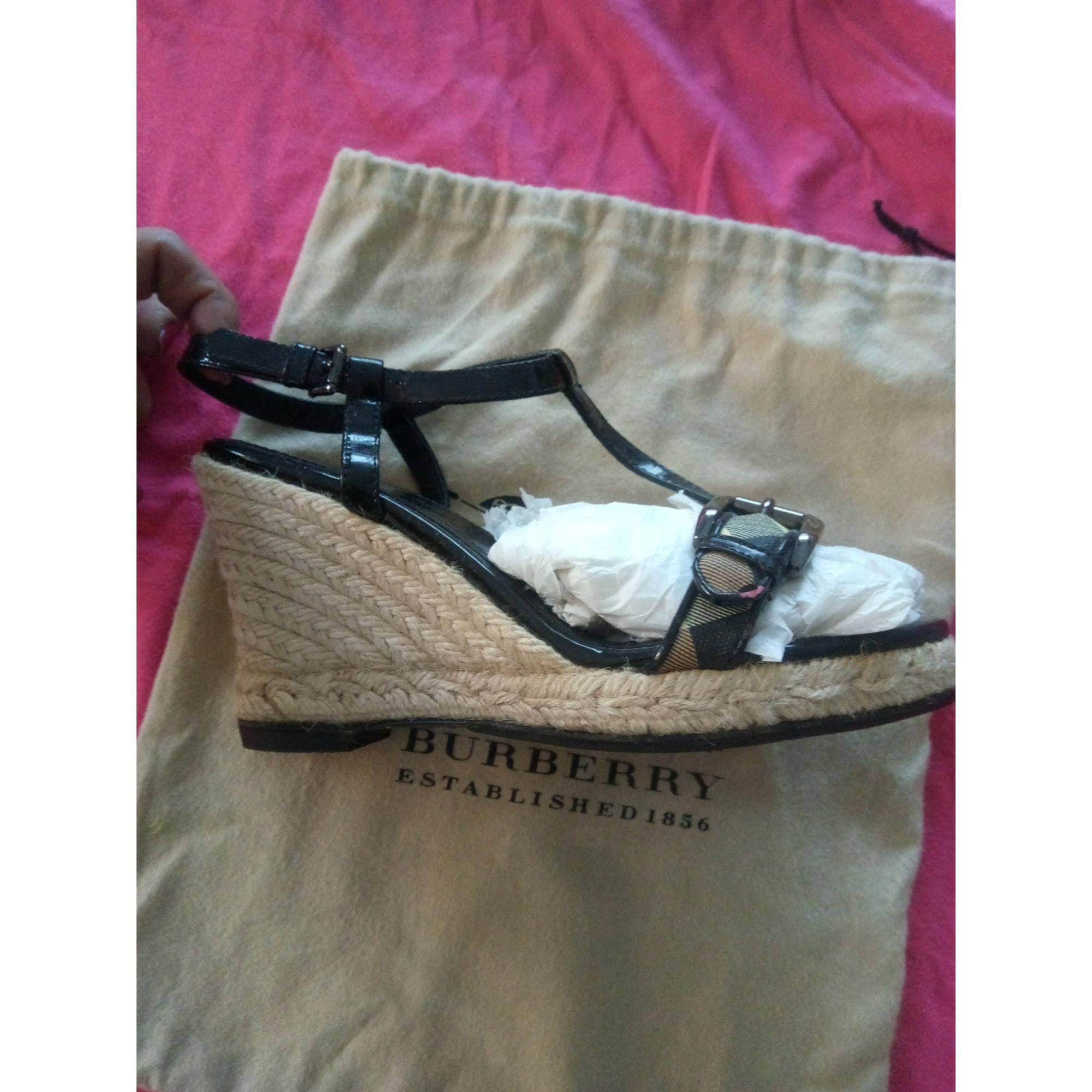 Sandales compensées cuir multicolore Burberry