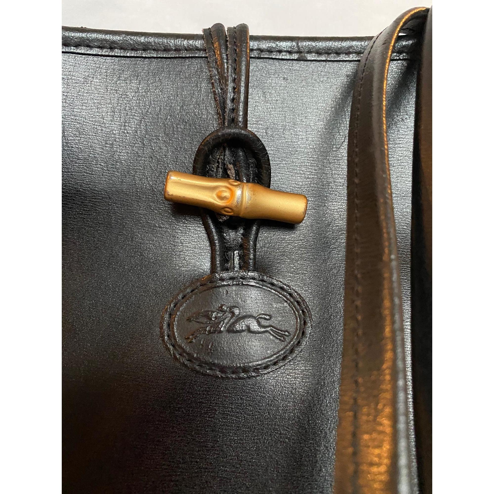 Sac à main en cuir cuir noir Longchamp en coloris Noir qzVr