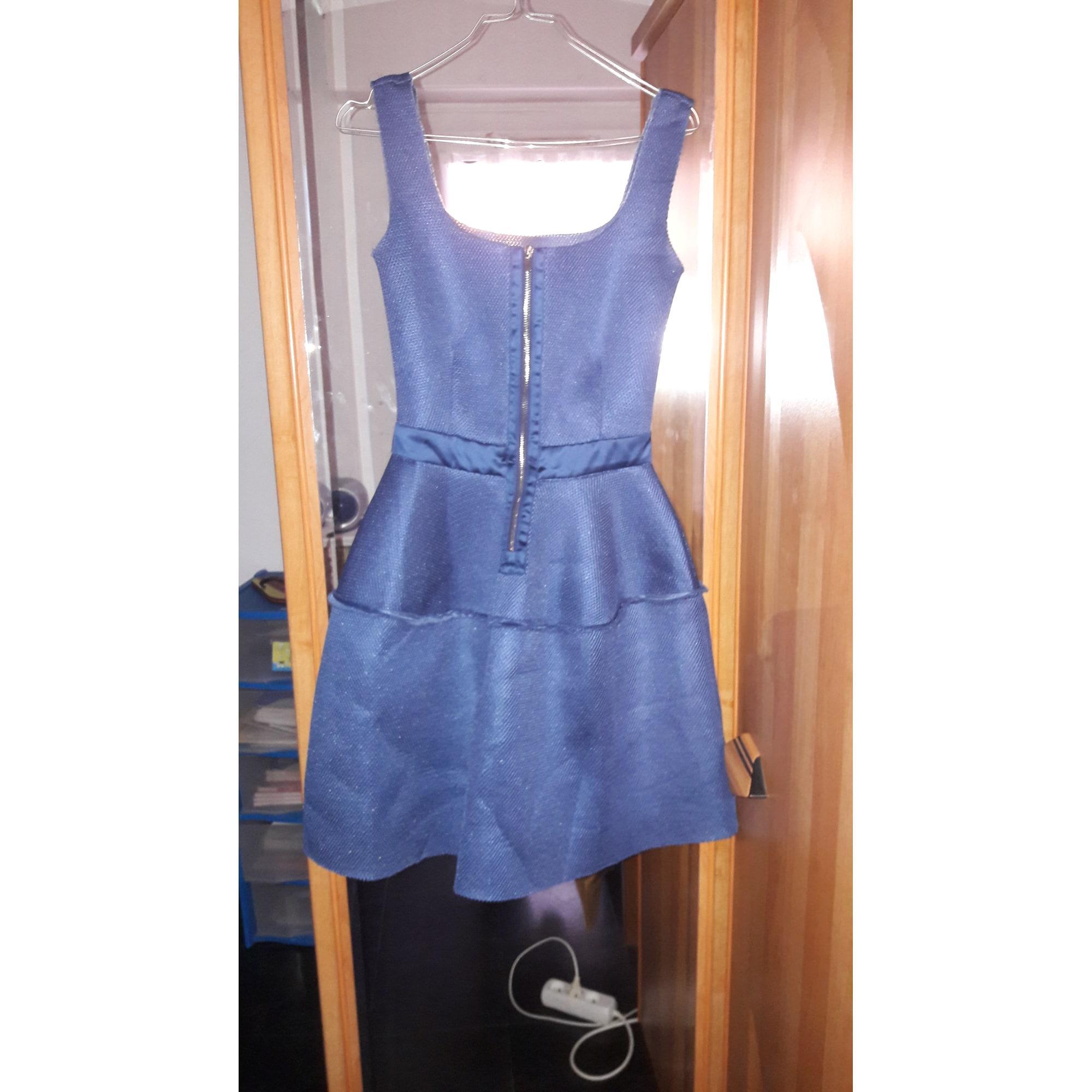 Robe mi-longue neoprène bleu Maje en coloris Bleu