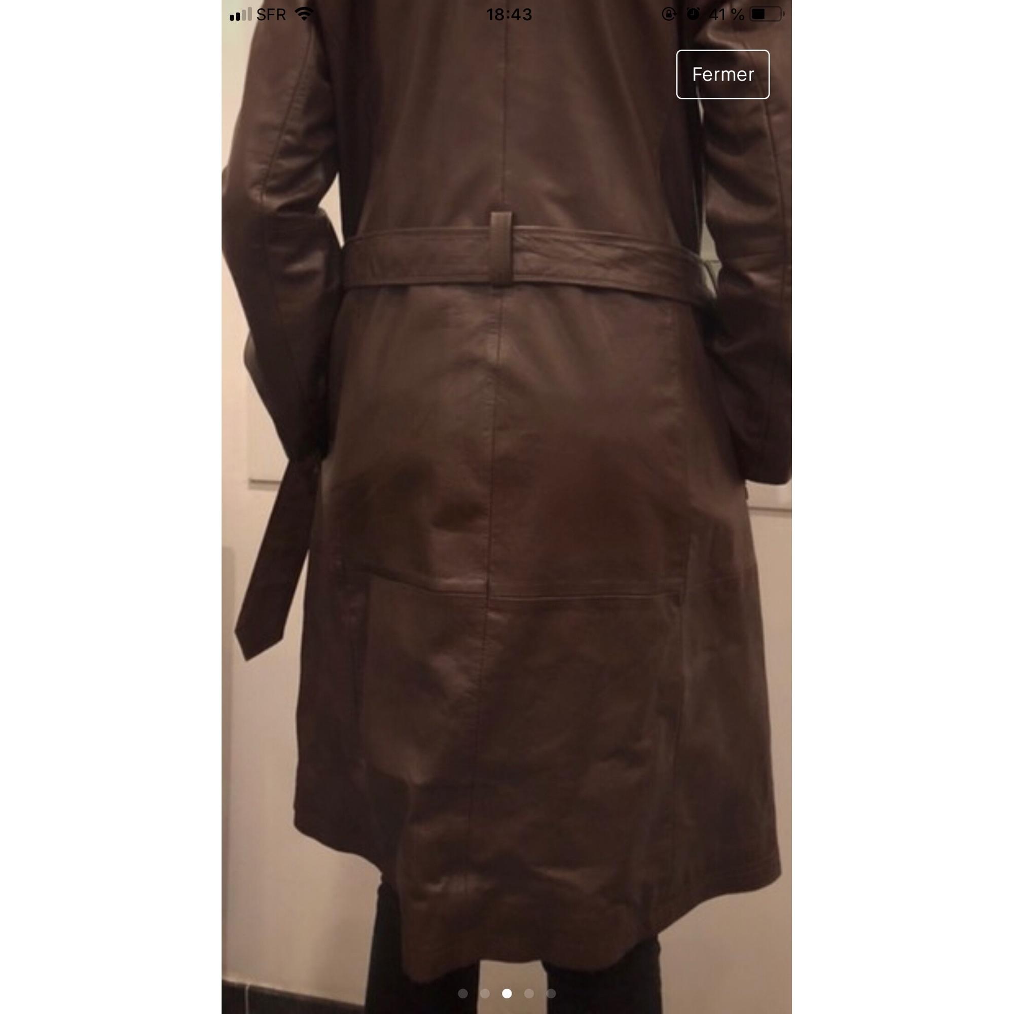 Manteau en cuir cuir marron Claudie Pierlot en coloris Marron UvvfK
