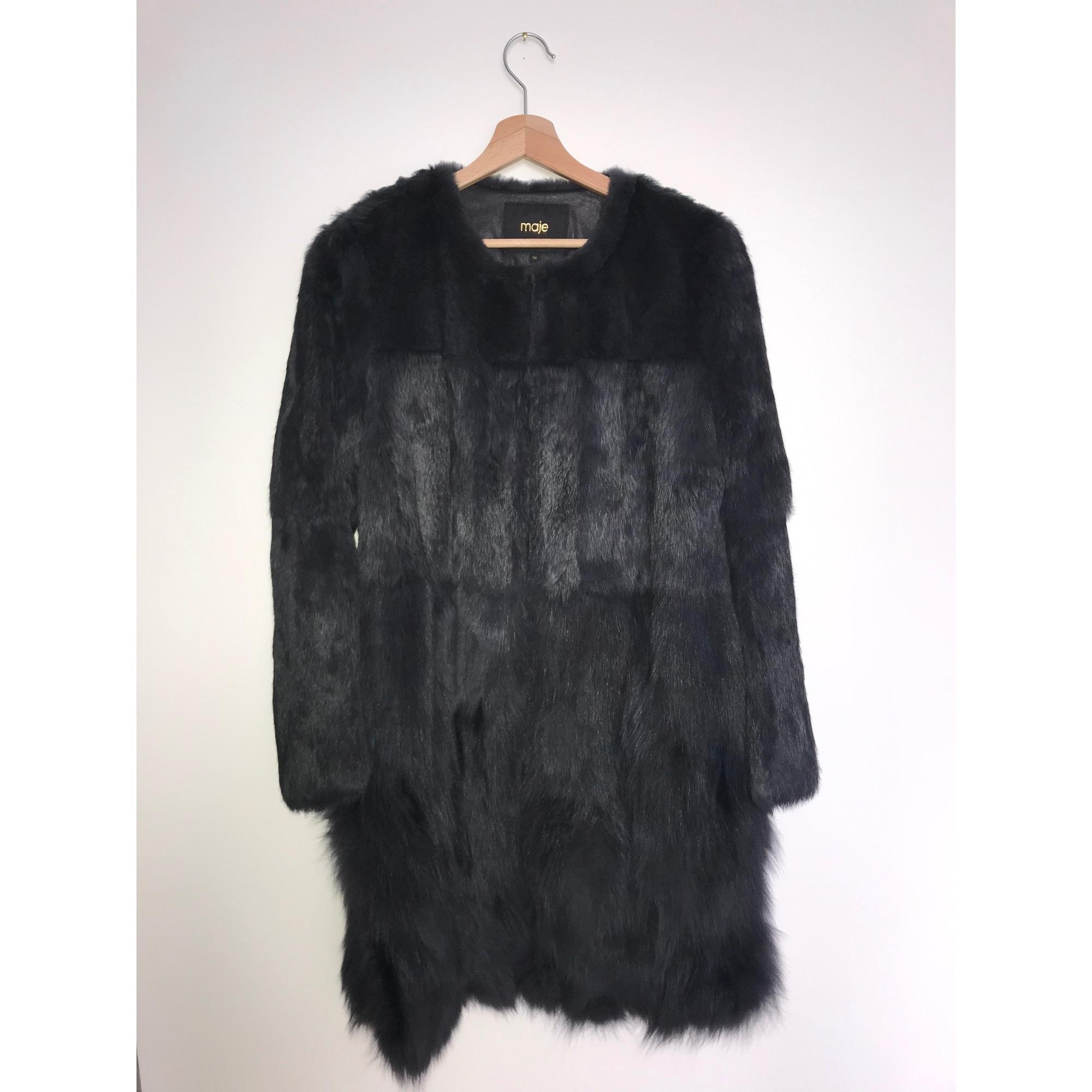 Manteau en fourrure fourrure noir Maje en coloris Noir Z4iER