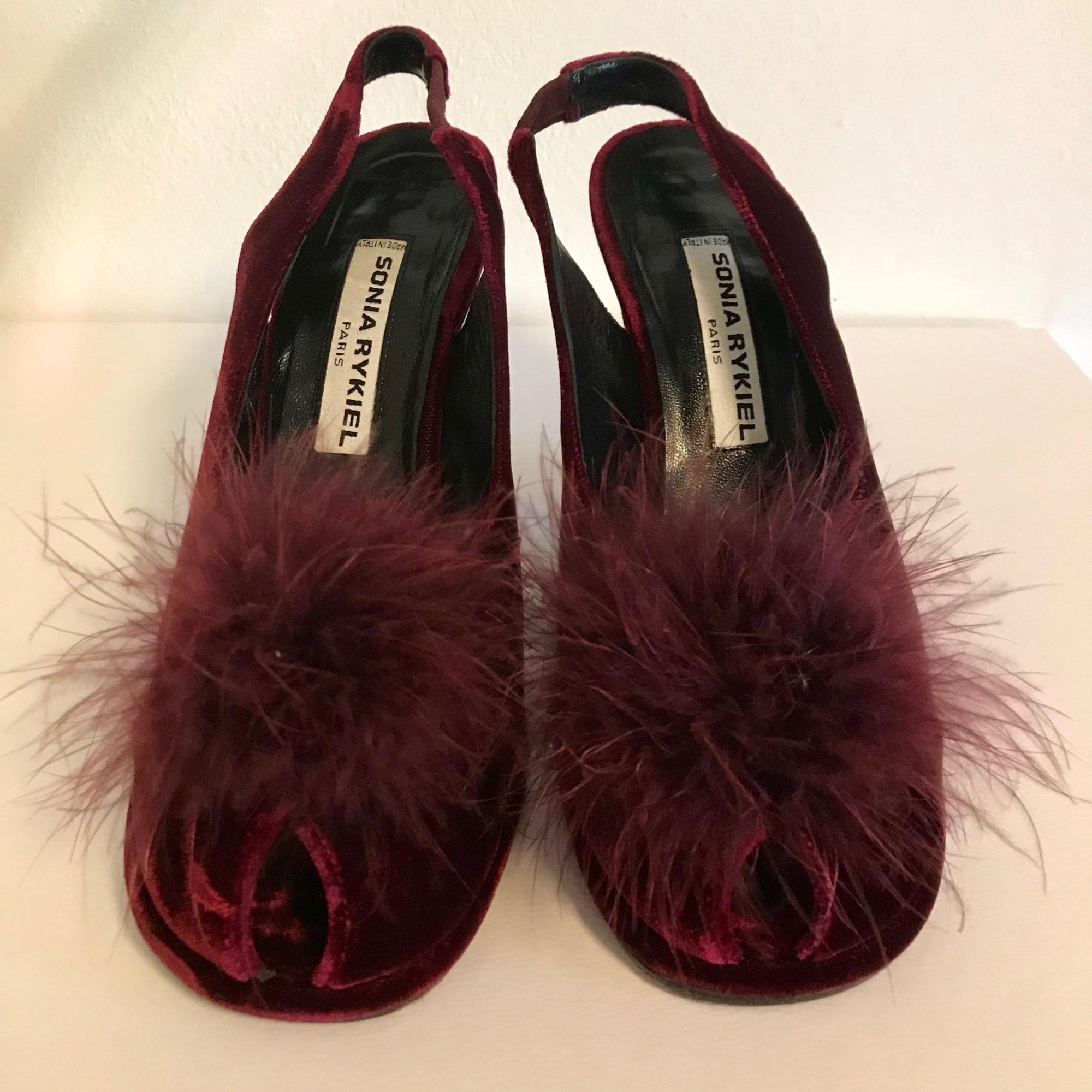 Sandales à talons velours rouge Sonia Rykiel en coloris Rouge