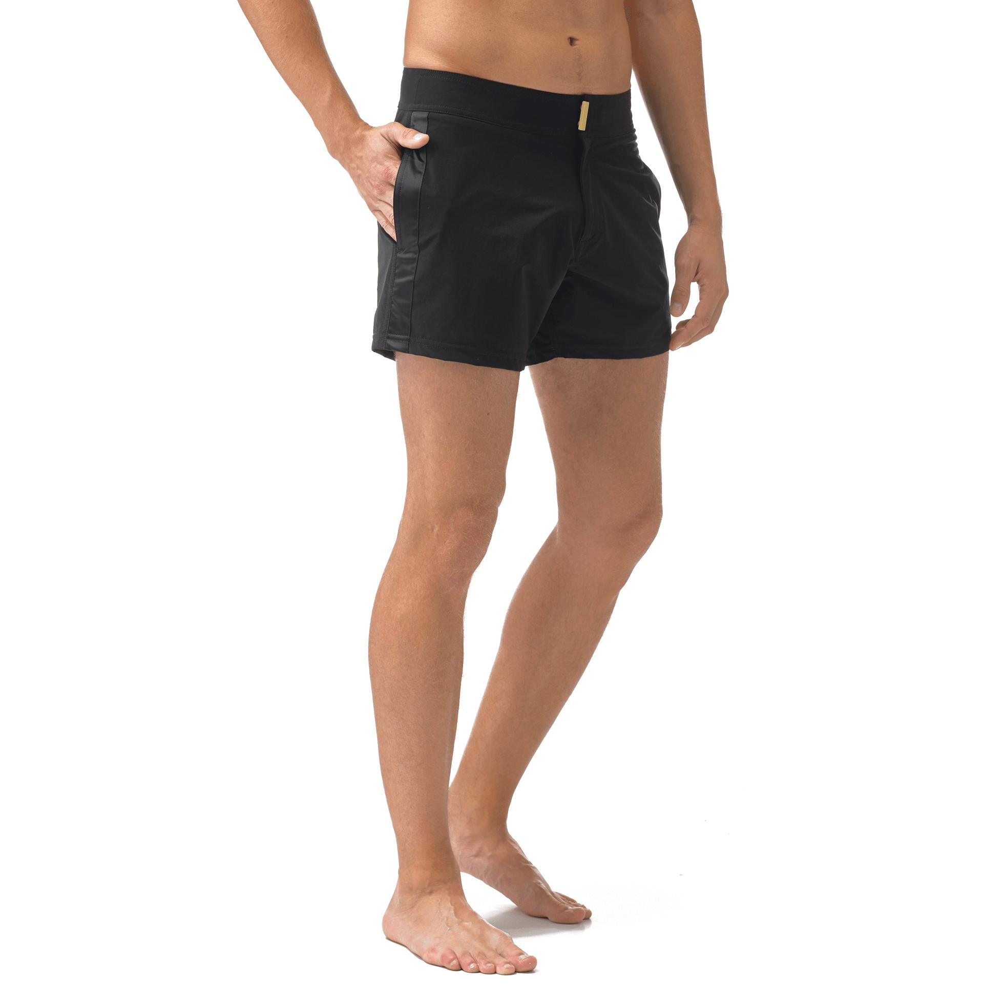 f106e65a04 Vilebrequin Black Smoking Tuxedo Fitted Swim Shorts for men