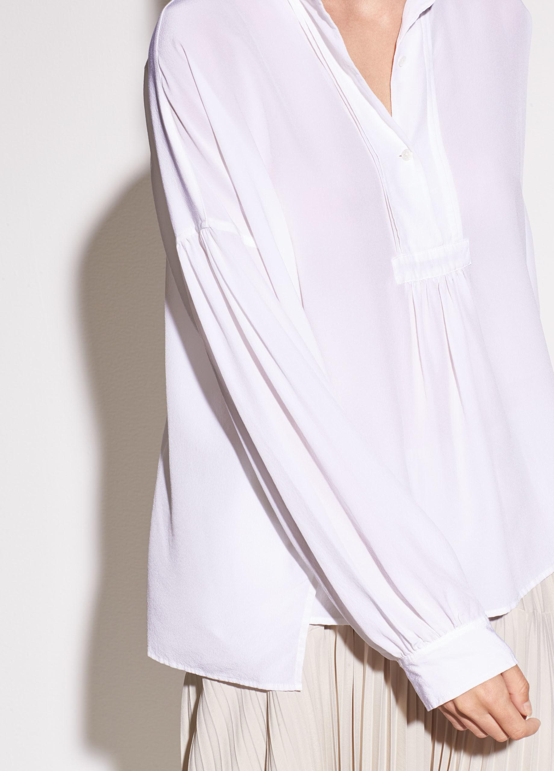 ceb5461ba6529f Lyst - Vince Shirred Silk Blouse in White
