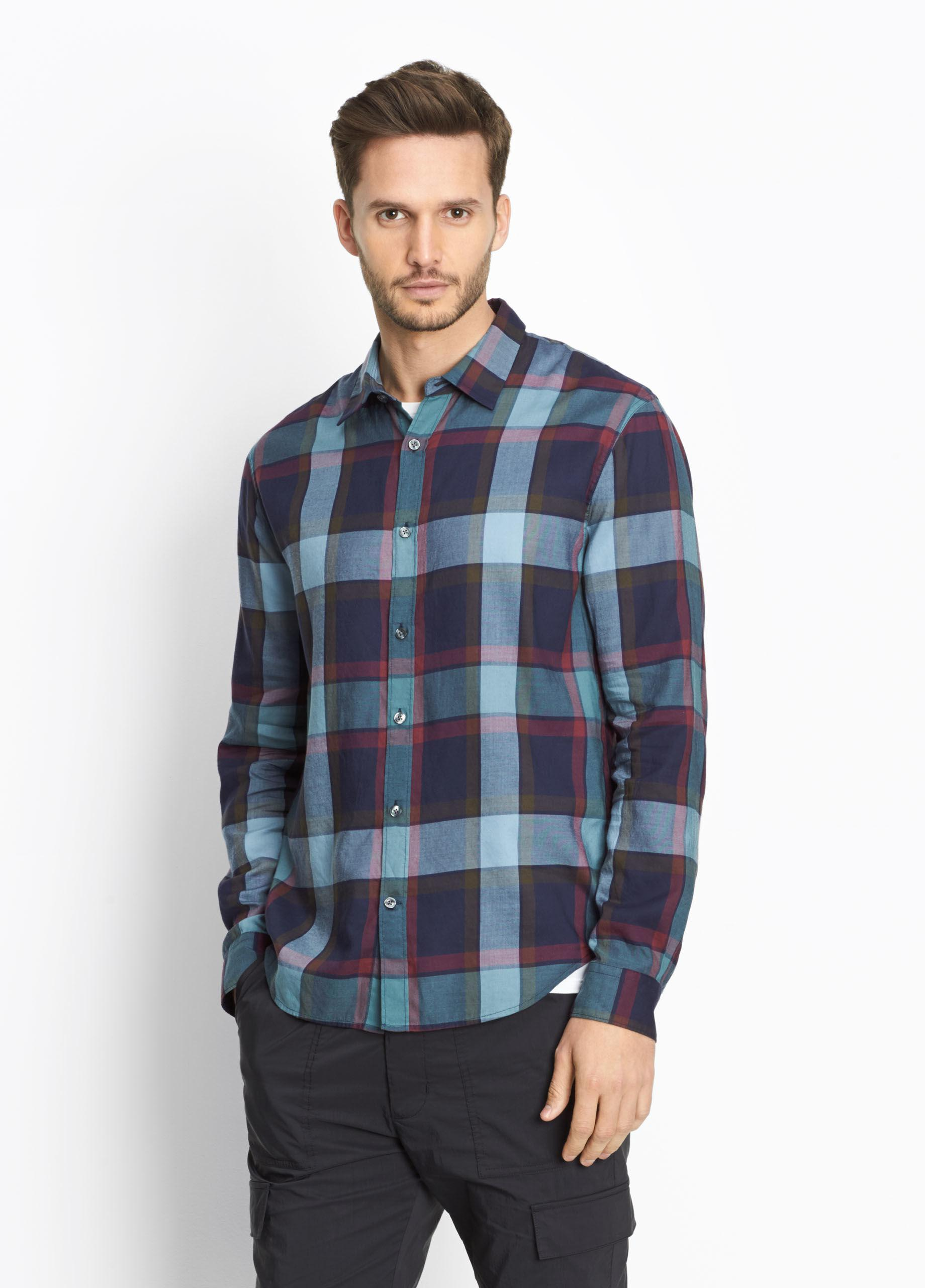Lyst vince buffalo plaid button front shirt in blue for men for Buffalo plaid men s shirt