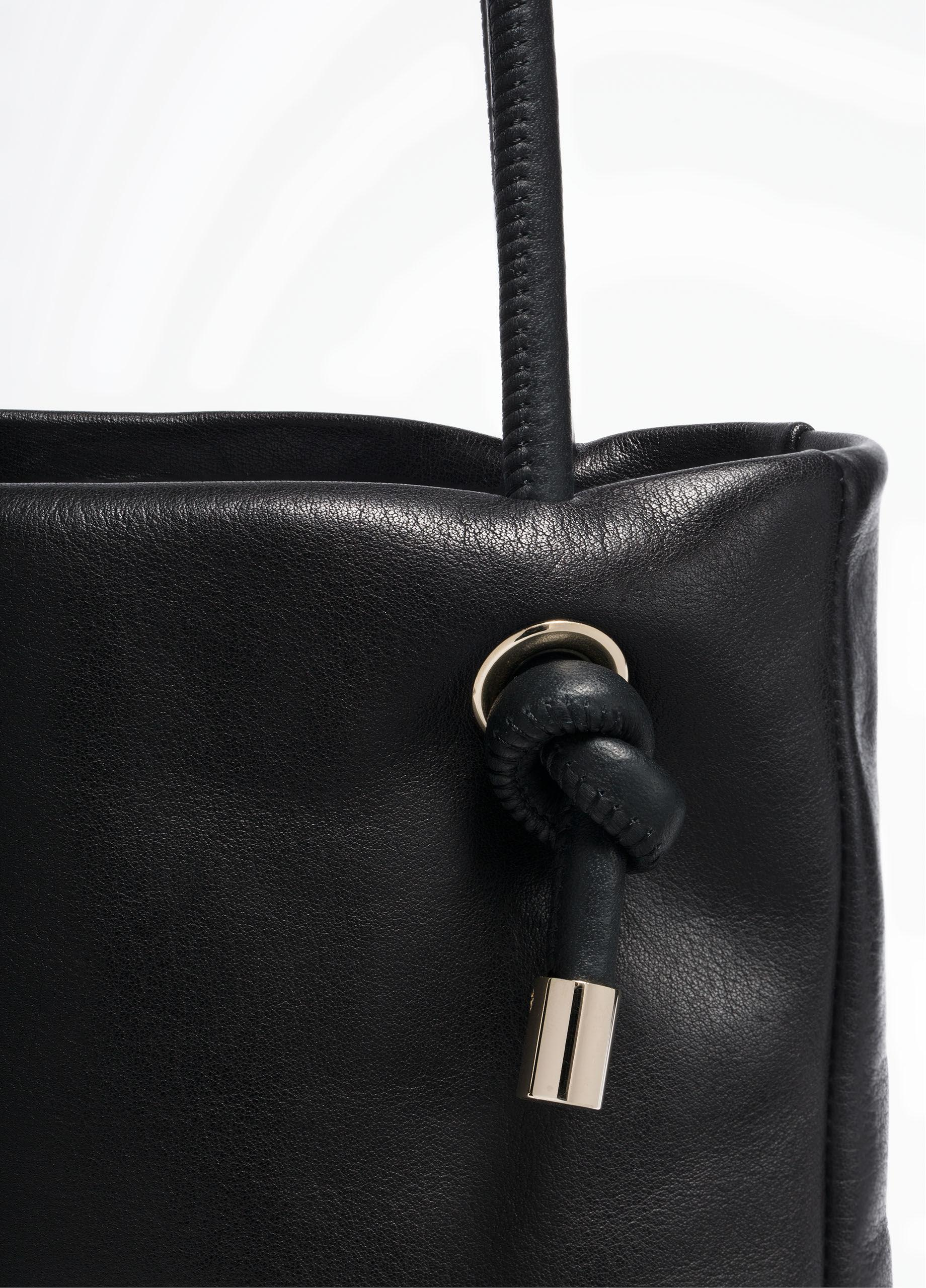 Vince Leather Canyon Mini Tote in Black