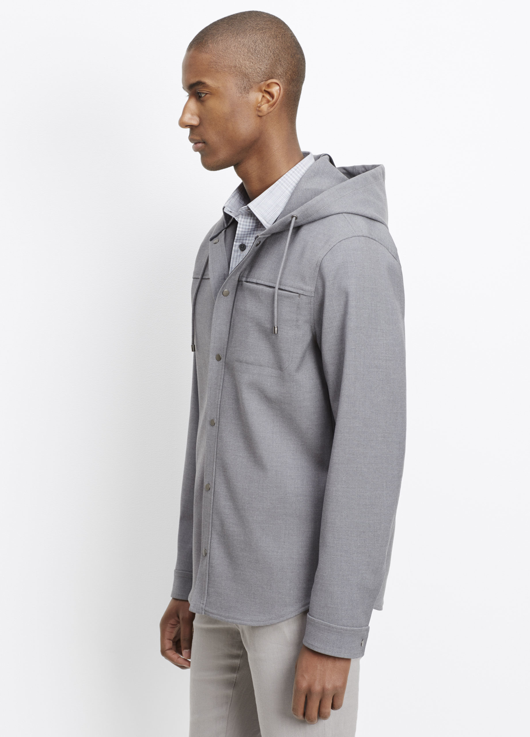 Vince Snap Front Hooded Jacket in Heather Grey (Grey) for Men